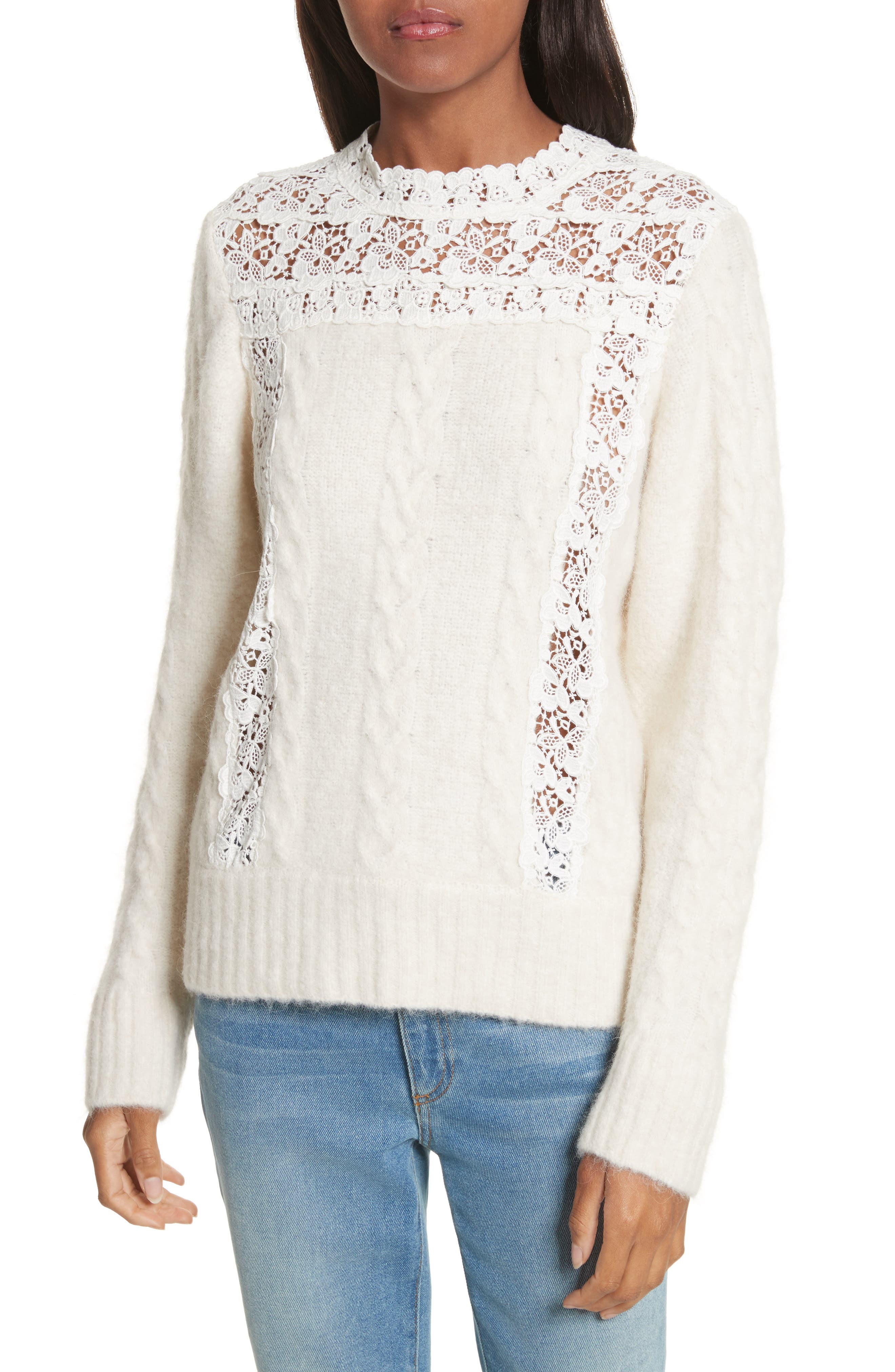 Lace Lace Inset Sweater,                             Main thumbnail 1, color,                             Cream