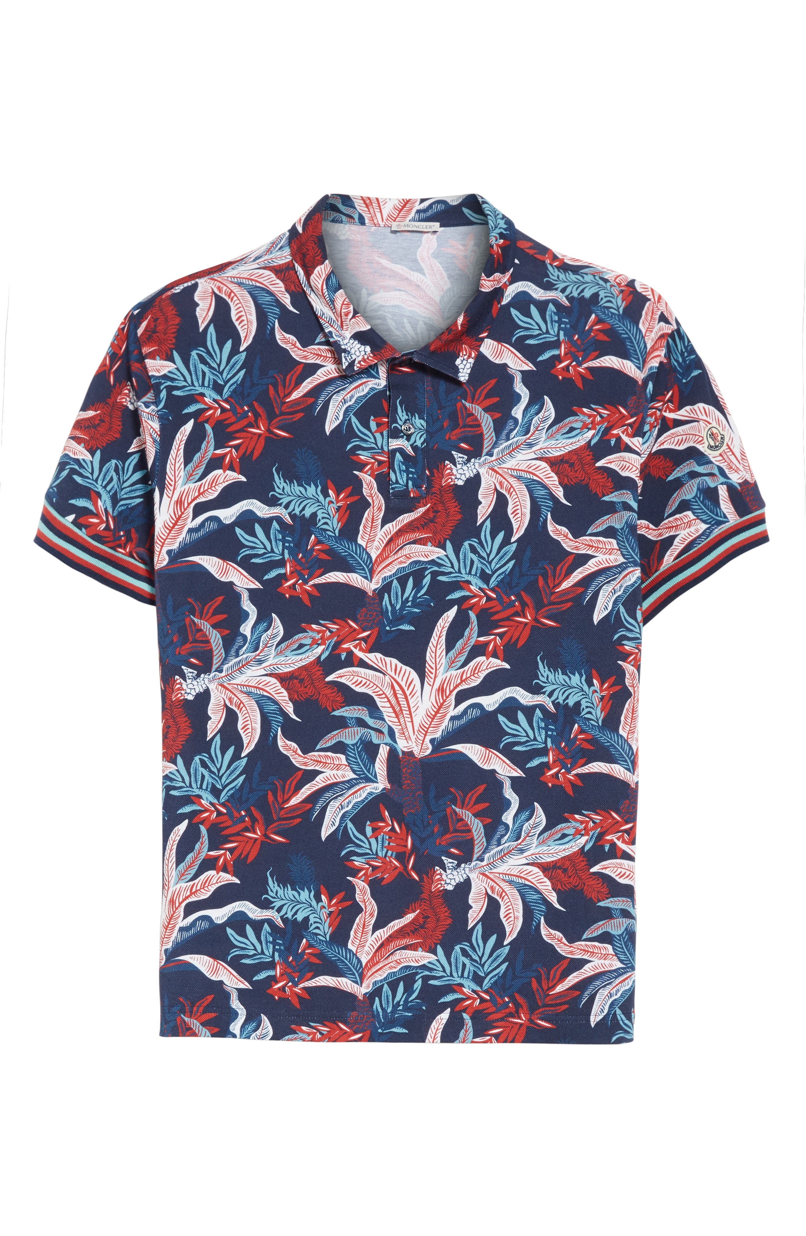 Floral Print Polo,                             Alternate thumbnail 6, color,                             Dark Blue