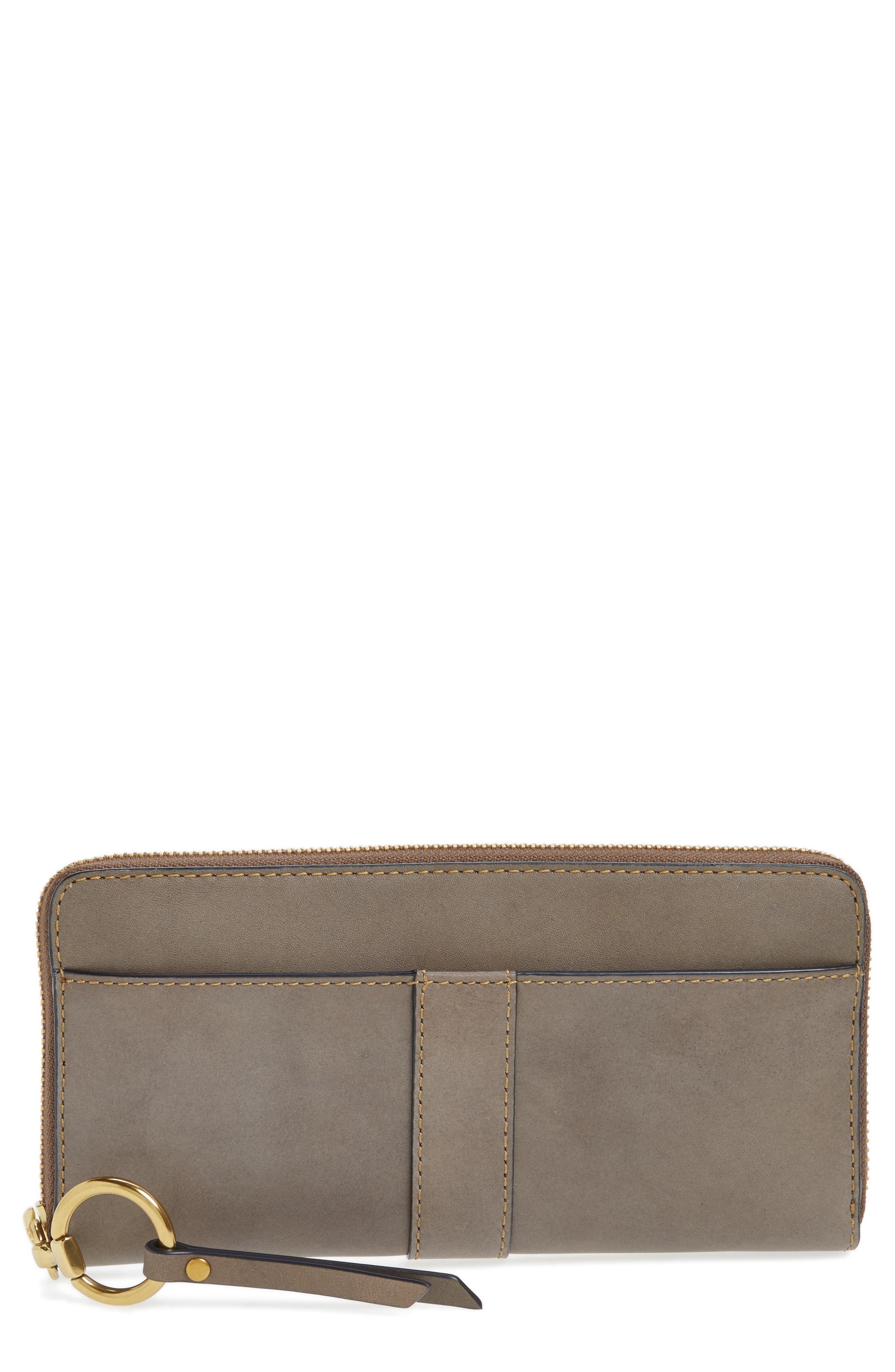 Ilana Harness Leather Zip Wallet,                         Main,                         color, Grey