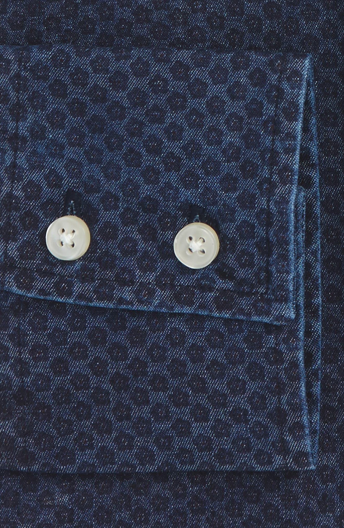 Trim Fit Floral Dot Dress Shirt,                             Alternate thumbnail 2, color,                             Indigo