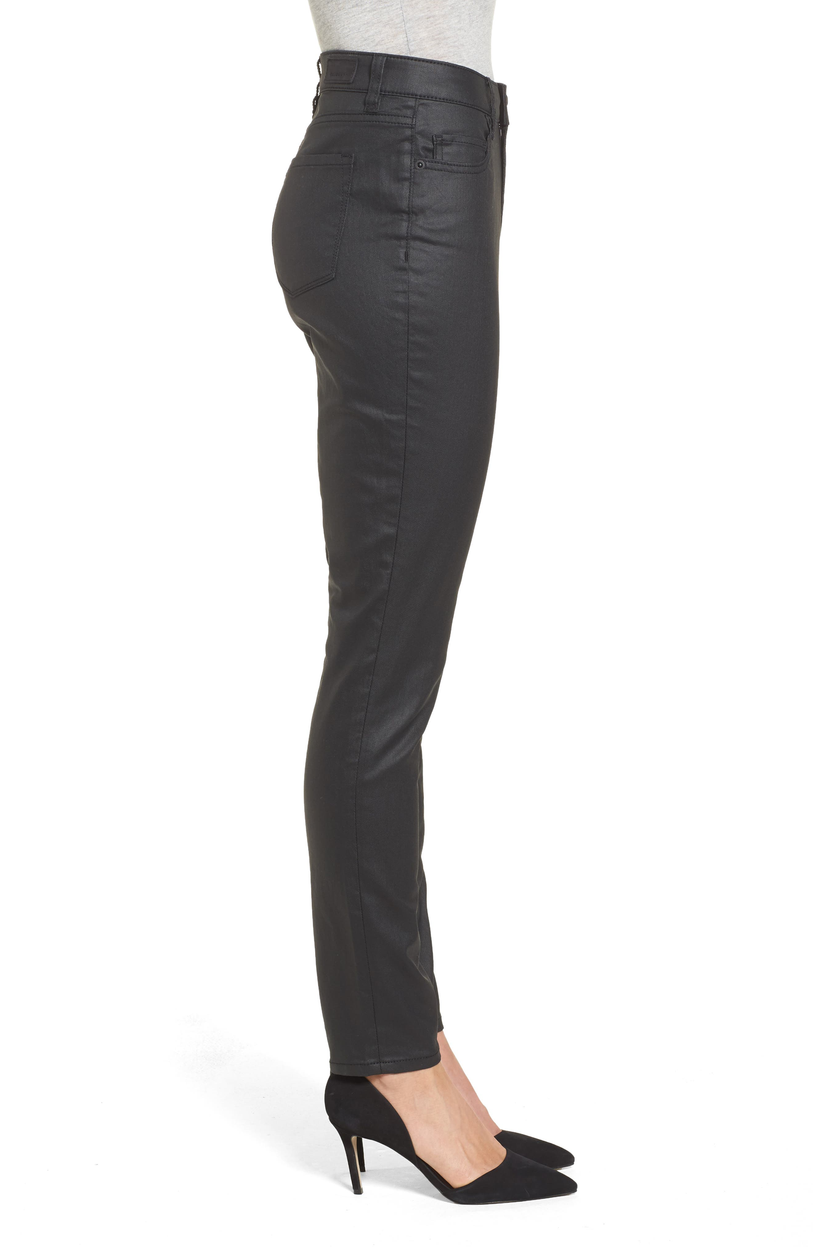 Coated Skinny Jeans,                             Alternate thumbnail 3, color,                             Black