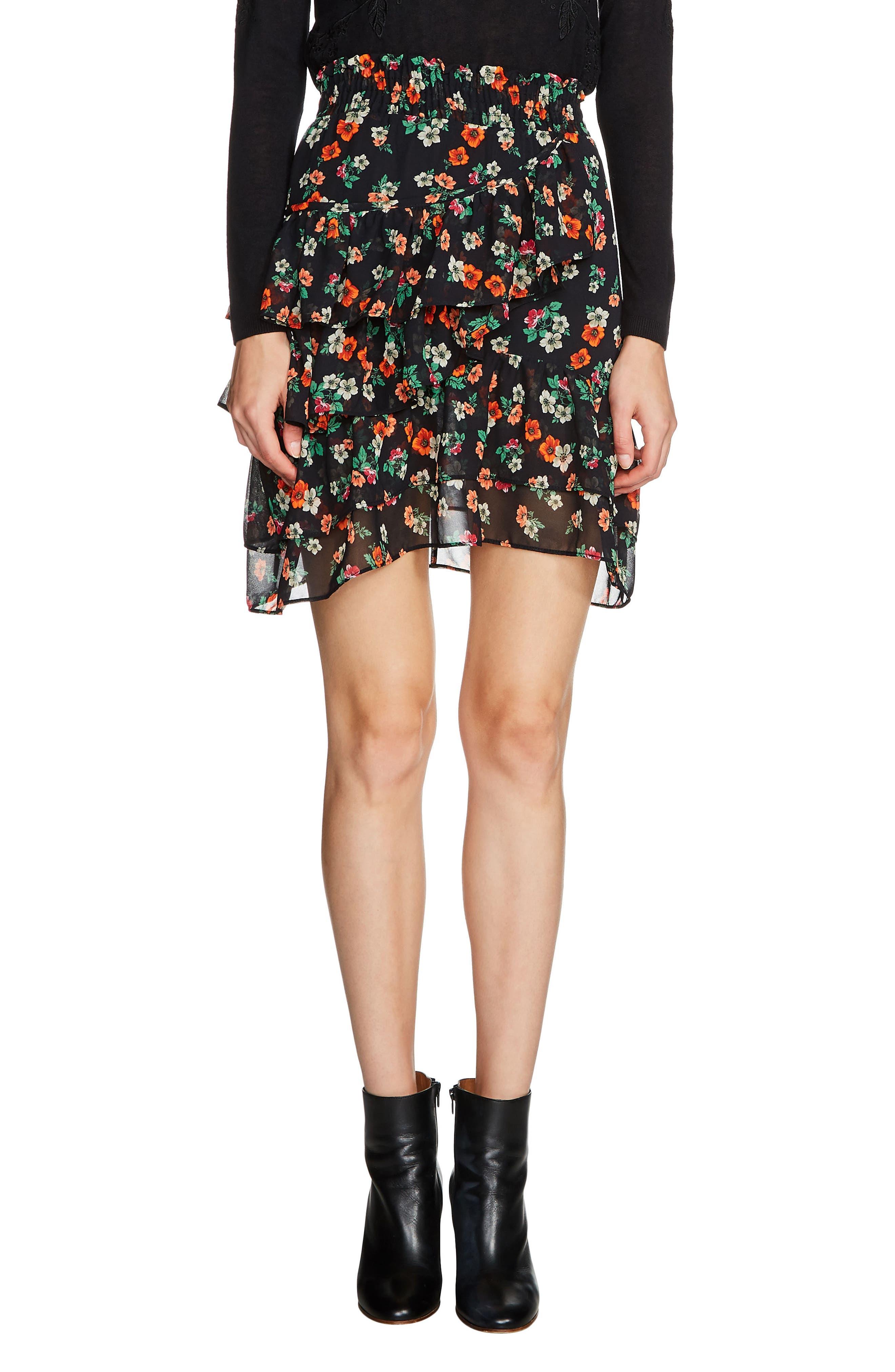 maje Floral Chiffon Tiered Skirt
