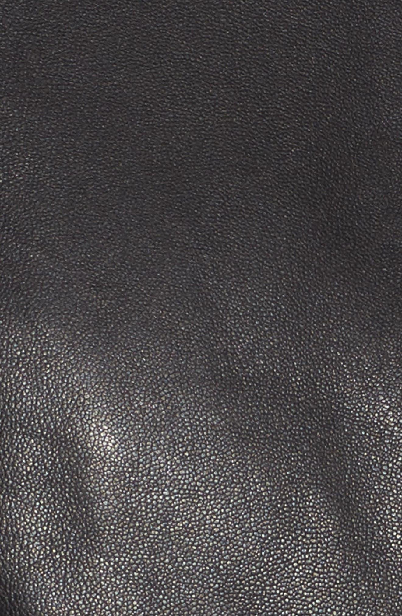 Quilted Sleeve Leather Biker Jacket,                             Alternate thumbnail 5, color,                             Black