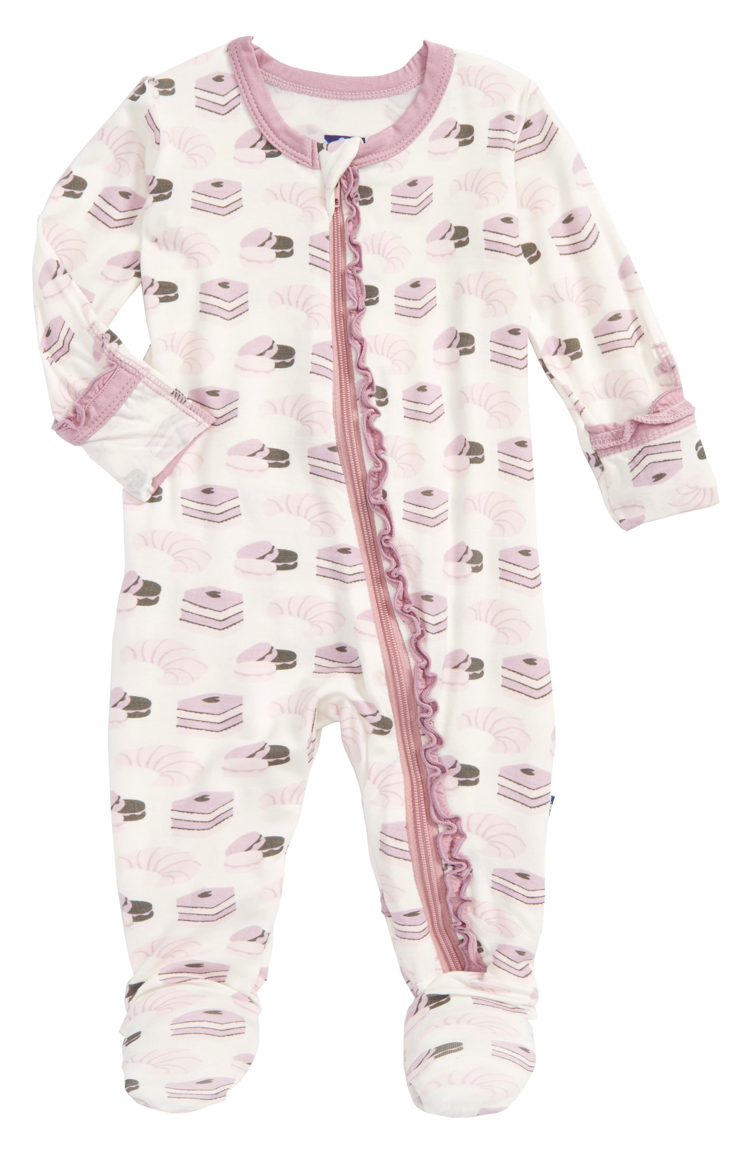 Print Fitted One-Piece Footie Pajamas,                         Main,                         color, Natural Sweet Treats