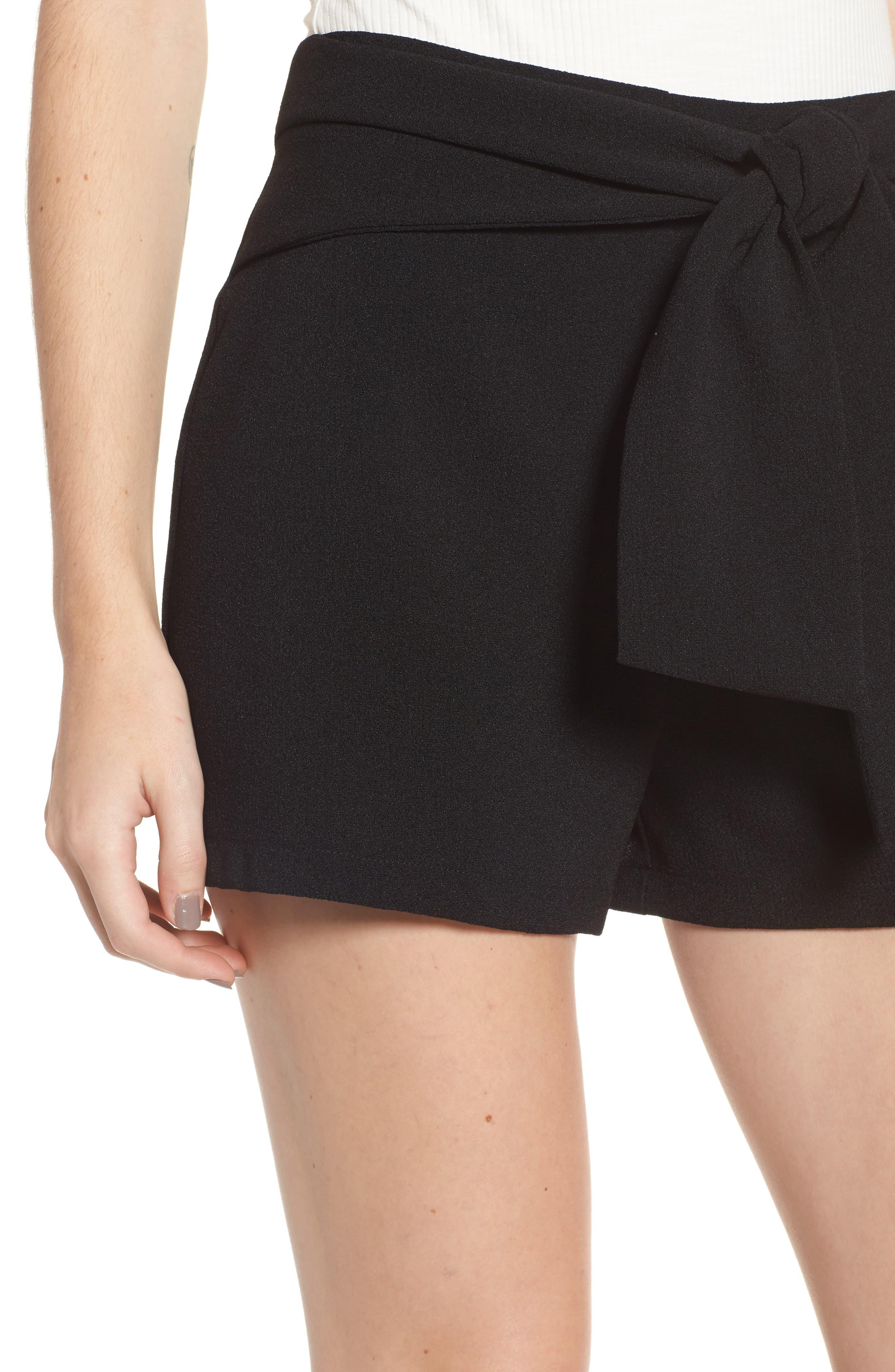 Tie Waist Shorts,                             Alternate thumbnail 4, color,                             Black