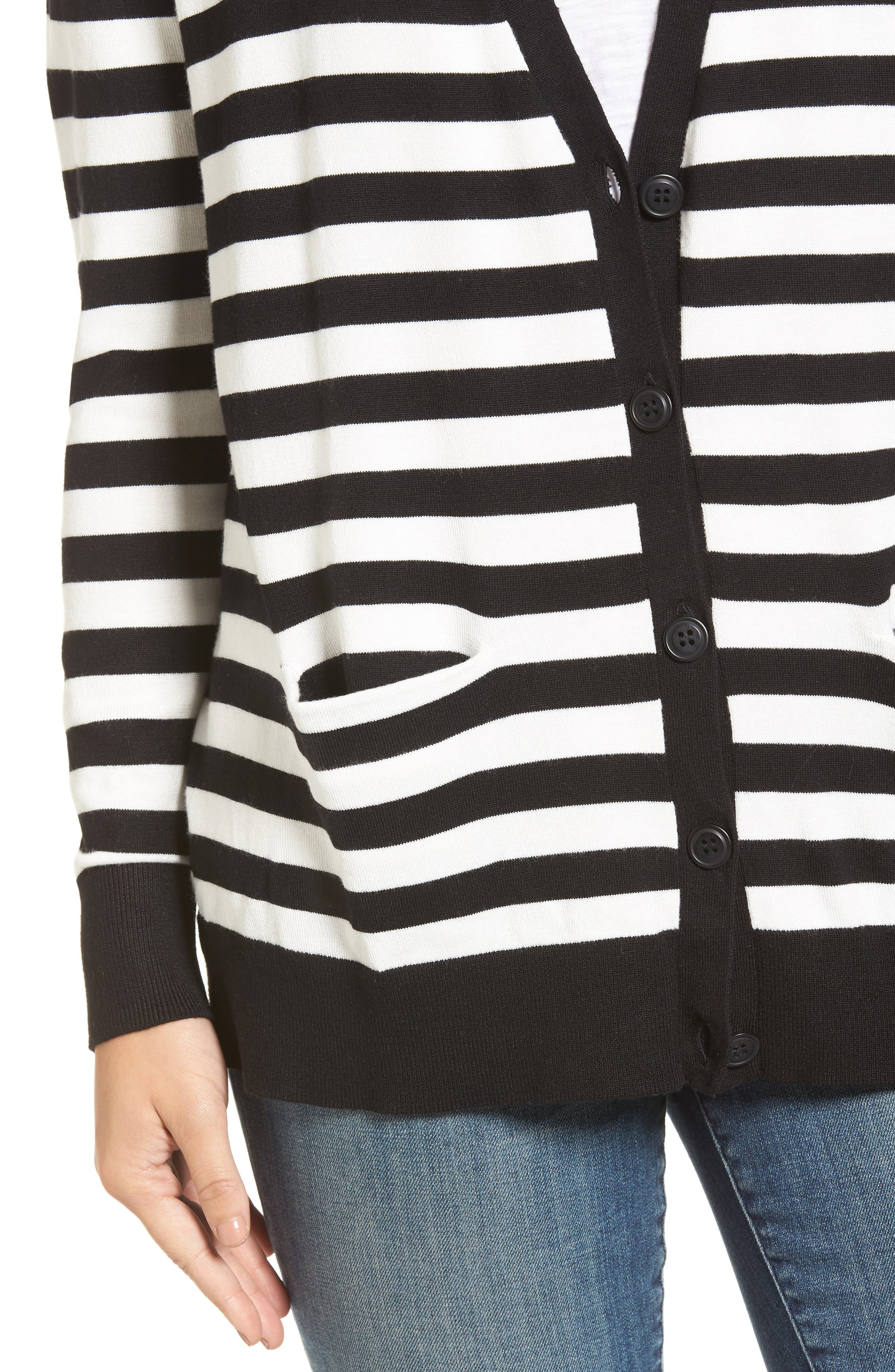 Relaxed Pocket Cardigan,                             Alternate thumbnail 5, color,                             Black- Ivory Stripe