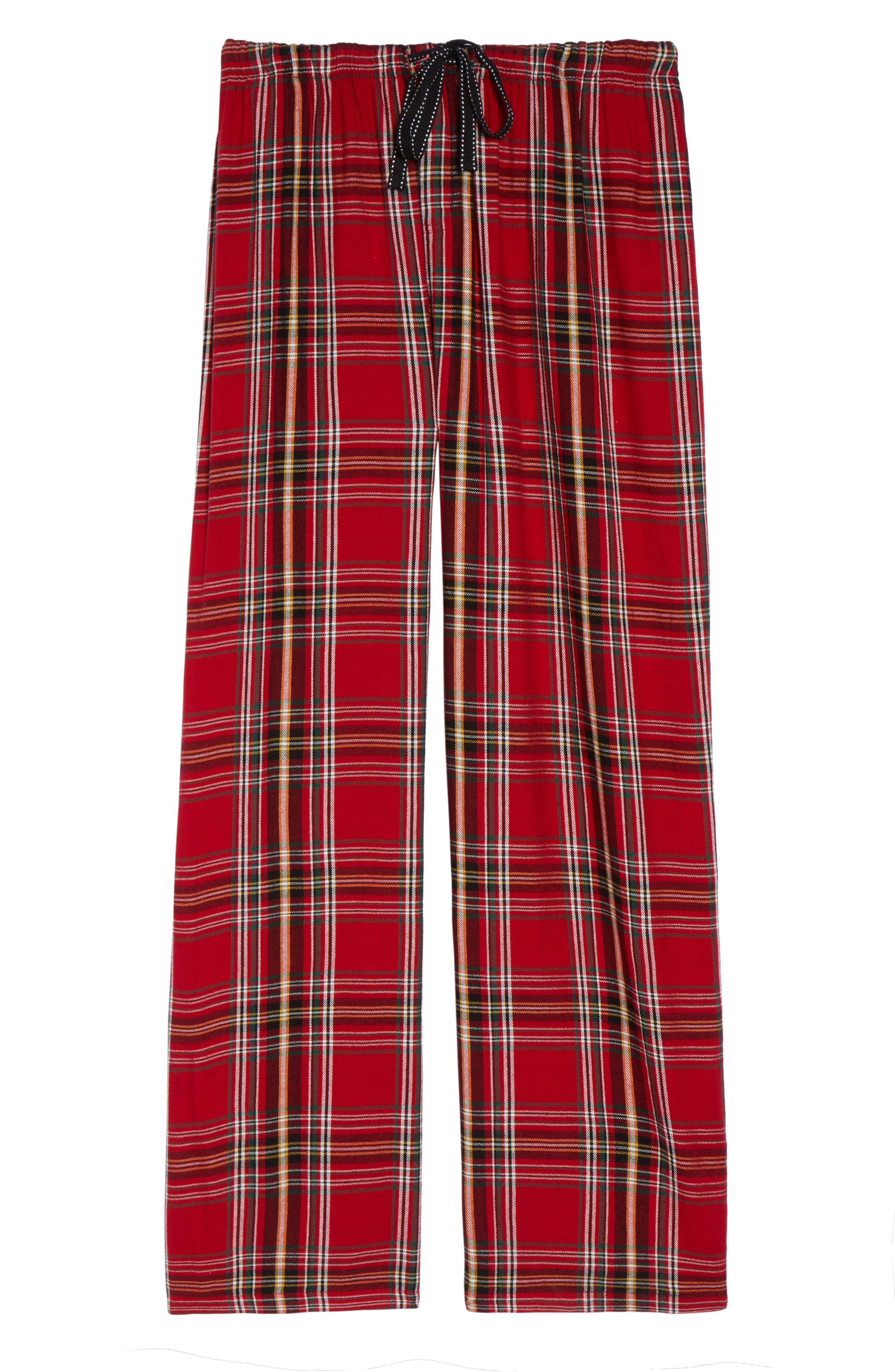 Plaid Flannel Pajama Pants,                             Alternate thumbnail 4, color,                             Brick
