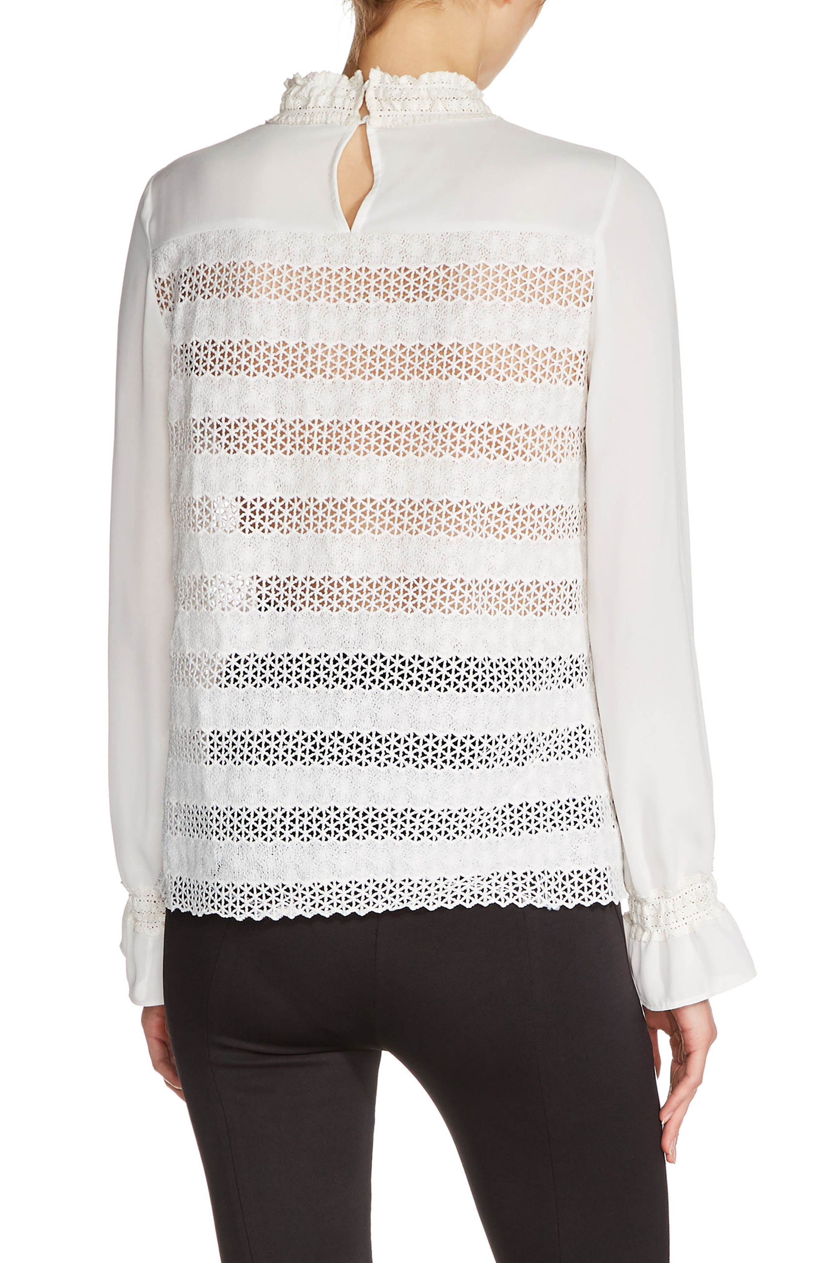 Embroidered Lace Top,                             Alternate thumbnail 2, color,                             Ecru