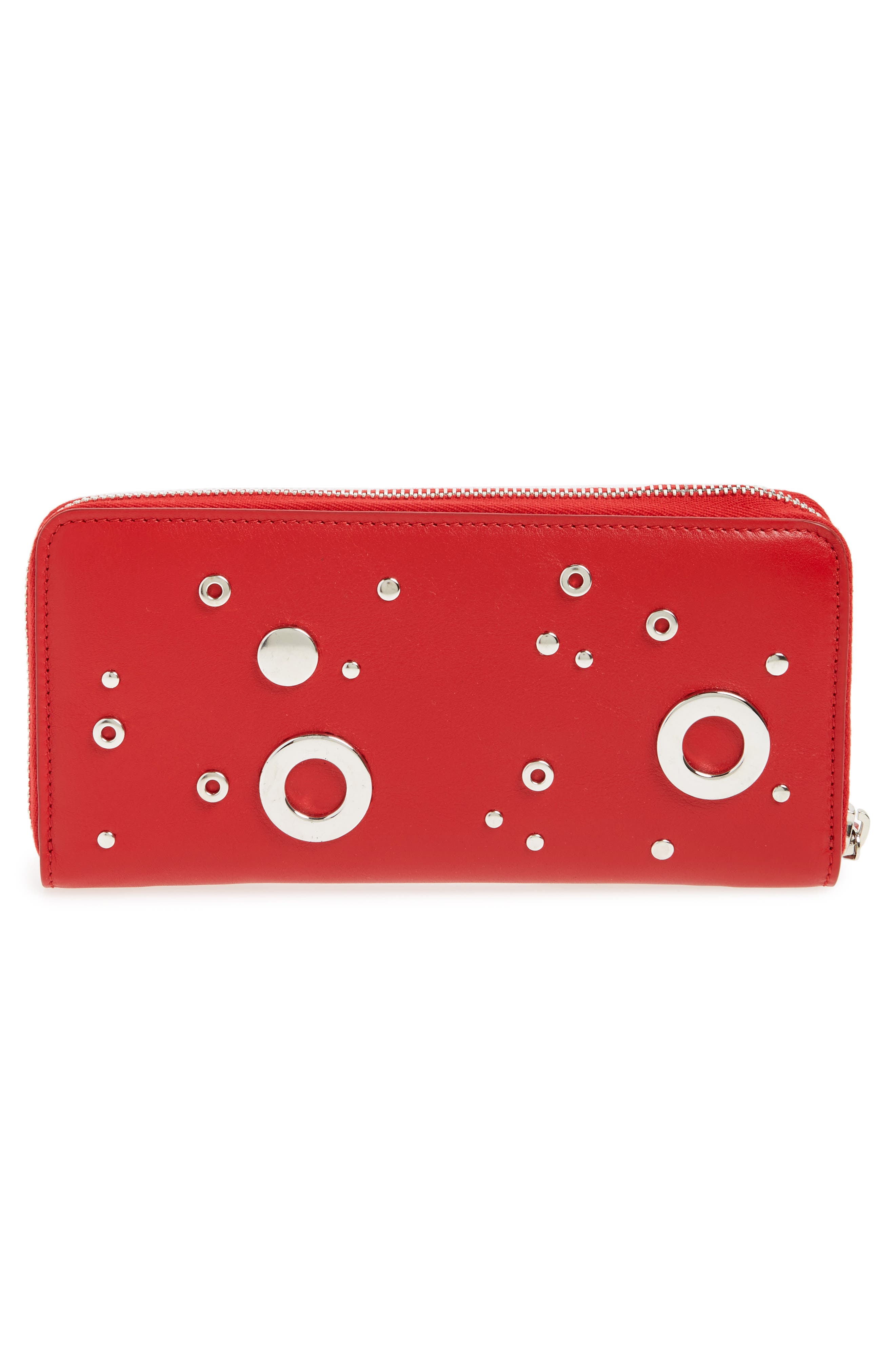 Studded Zip Around Continental Wallet,                             Alternate thumbnail 4, color,                             New Scarlet