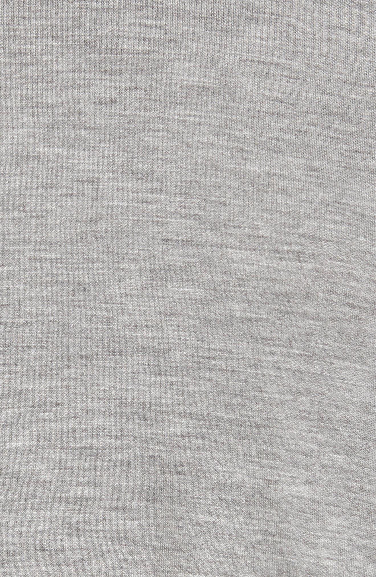 Velvet Tie Crop Hoodie,                             Alternate thumbnail 5, color,                             Tonal Gray