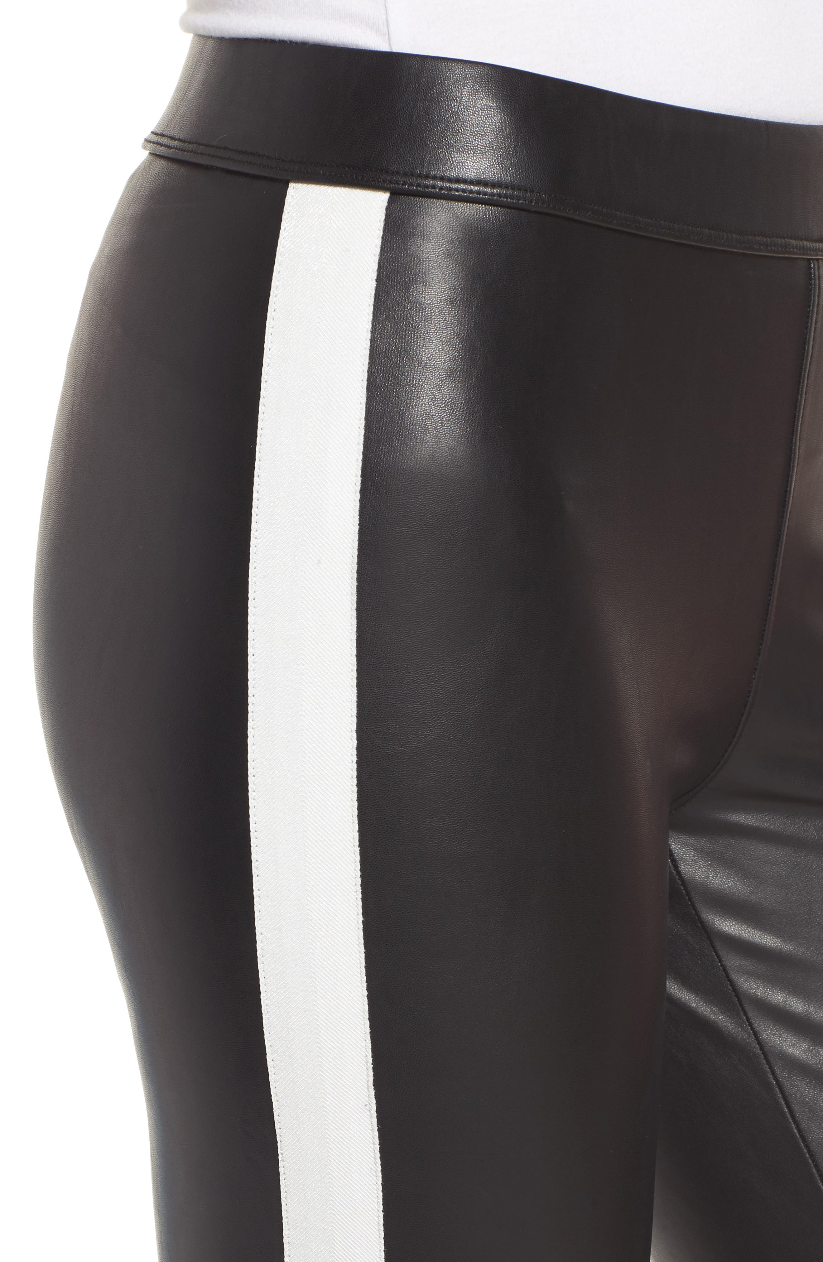 Tuxedo Stripe Zip Faux Leather Leggings,                             Alternate thumbnail 4, color,                             Classic Black W/ White