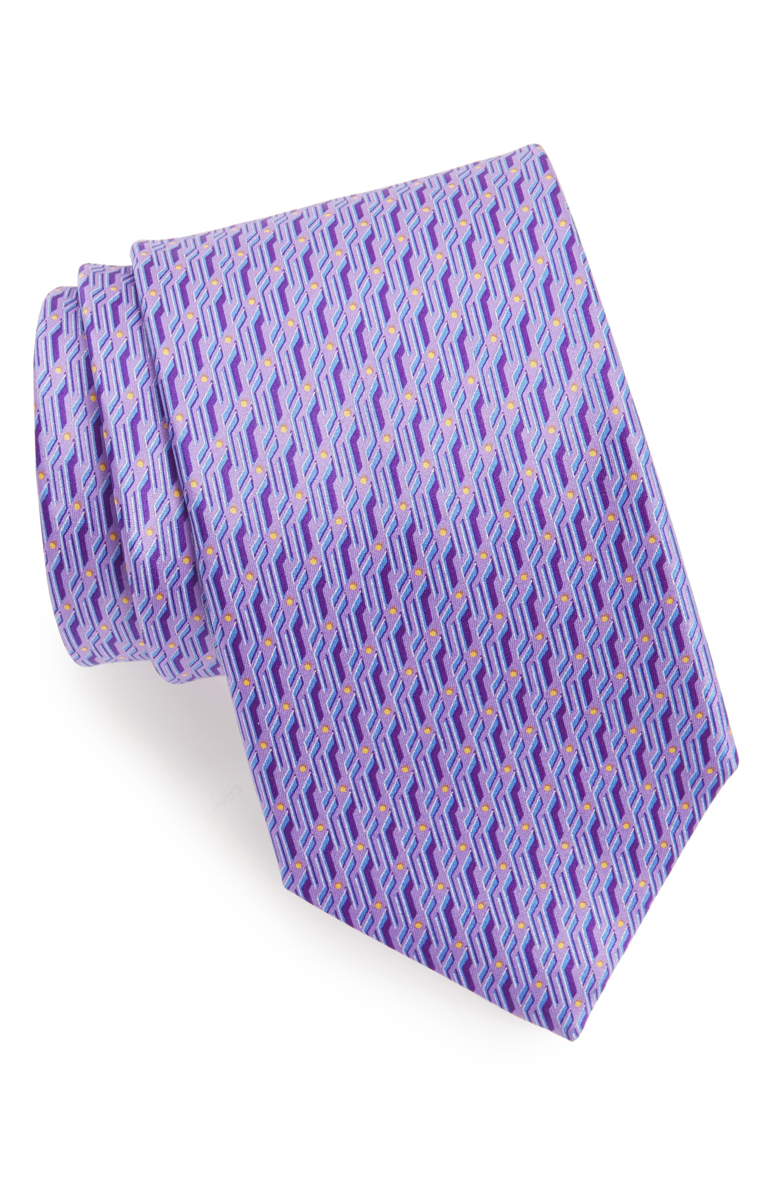 Geometric Silk Tie,                         Main,                         color, Light Purple
