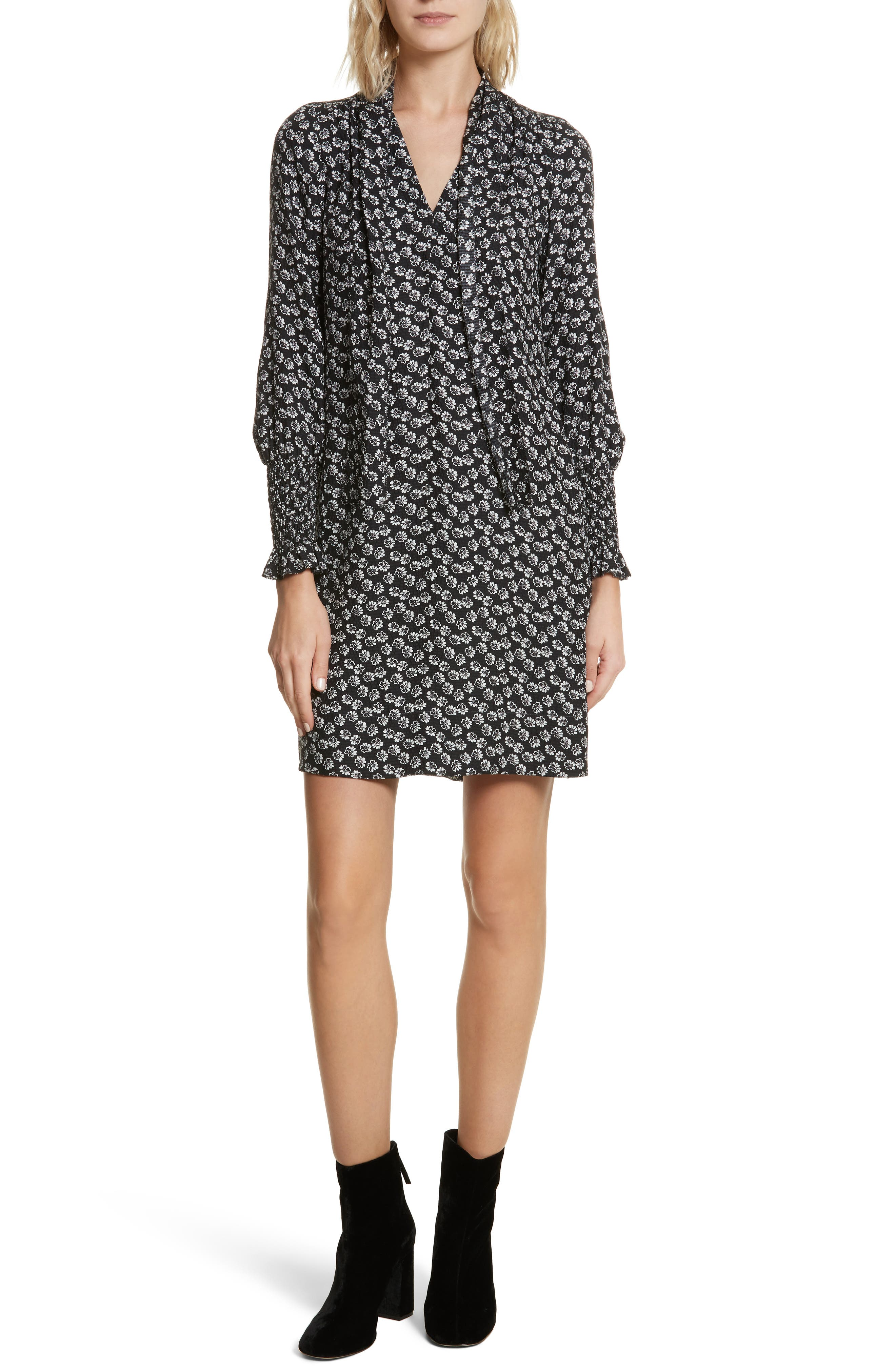 Rebecca Taylor Rue Floral Silk Tie Neck Dress