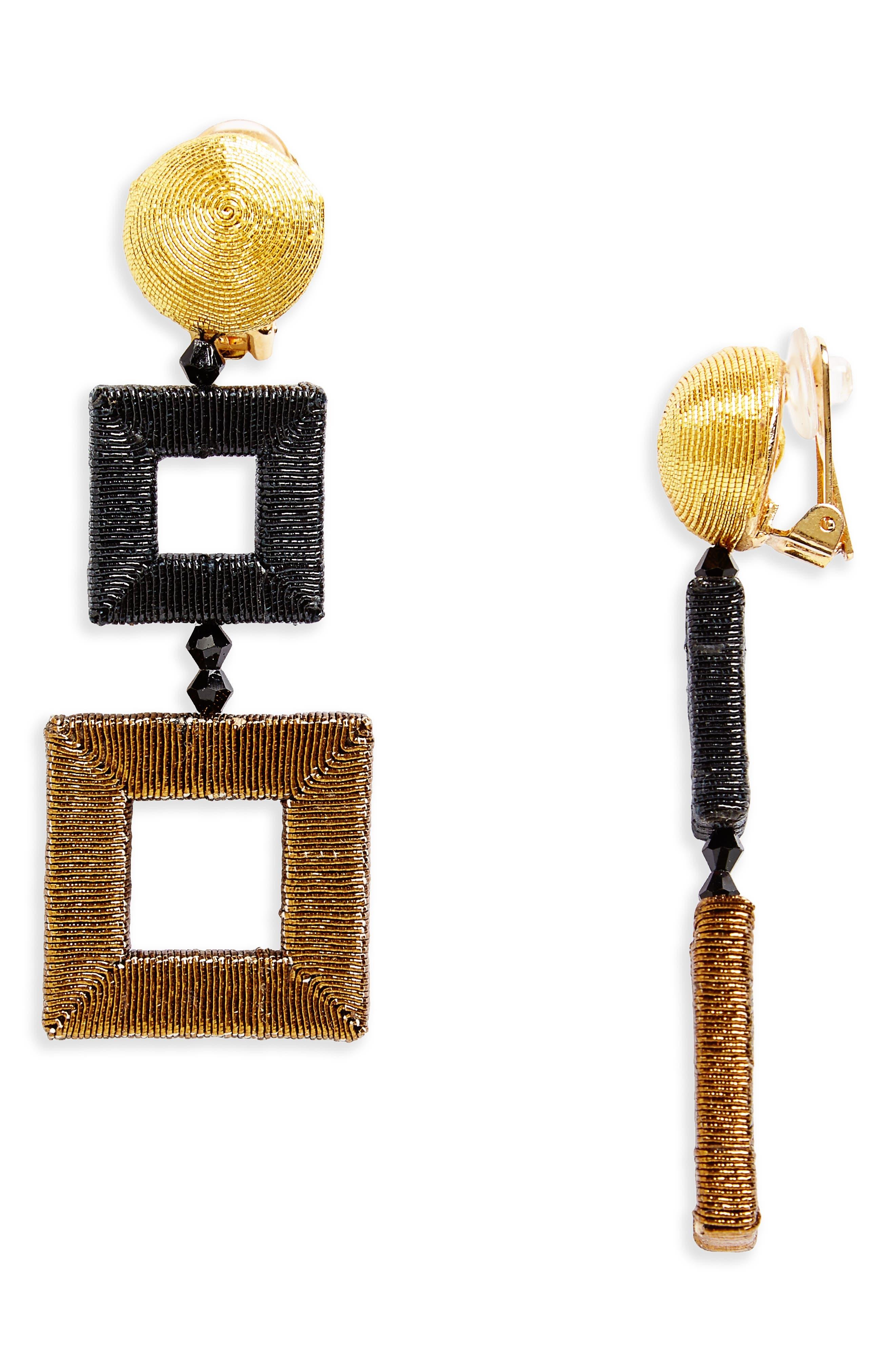 Oscar de la Renta Wrapped Double Drop Earrings