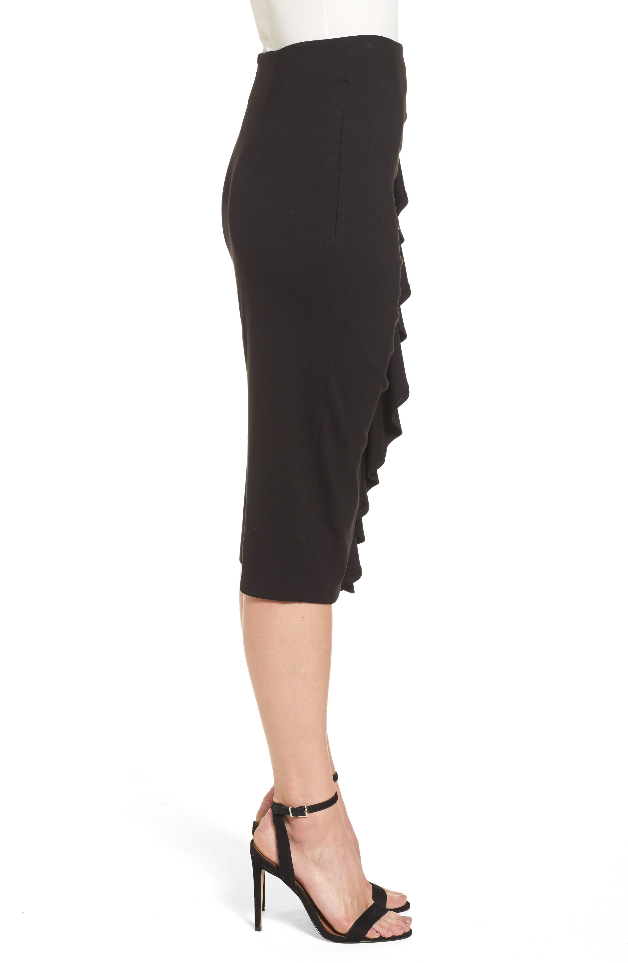 Side Ruffle Pencil Skirt,                             Alternate thumbnail 3, color,                             Black