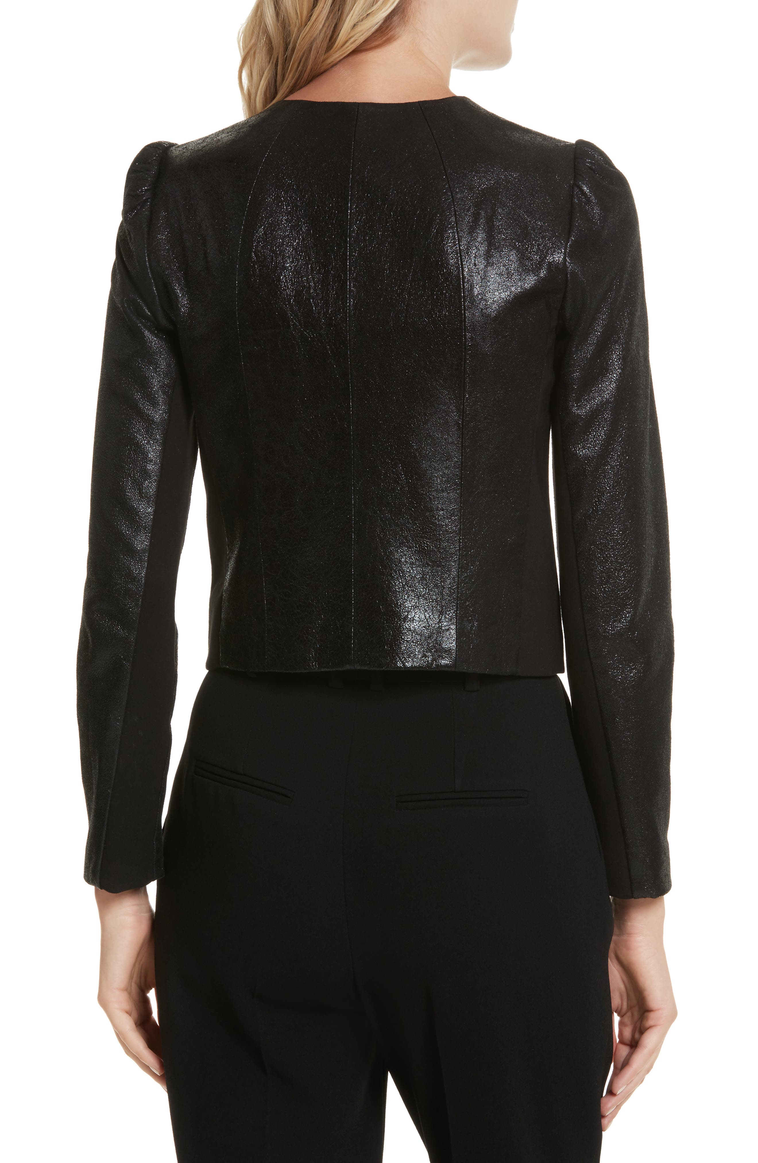 Metallic Leather Jacket,                             Alternate thumbnail 2, color,                             Black Sparkle