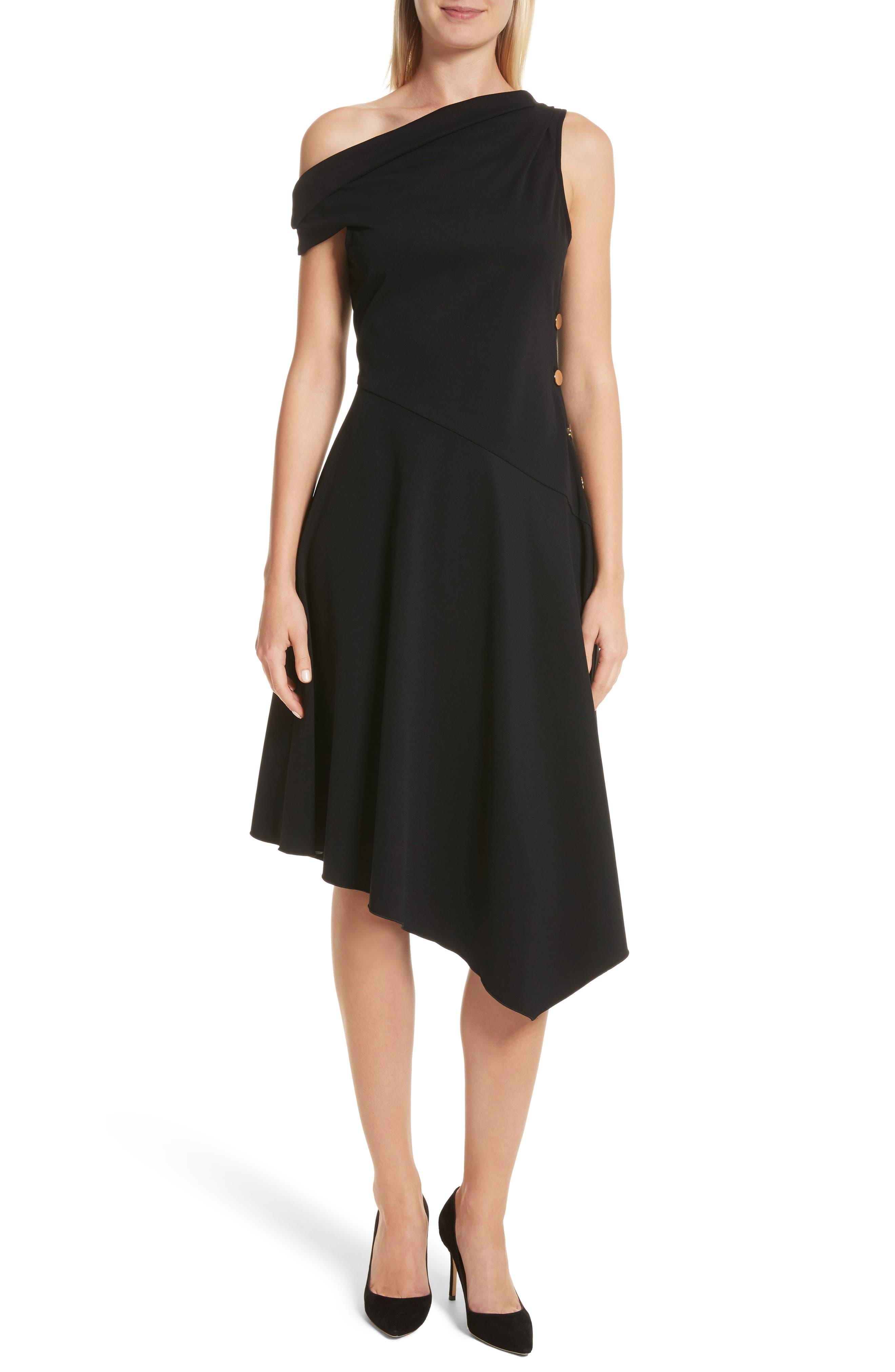 One-Shoulder Midi Dress,                             Main thumbnail 1, color,                             Black