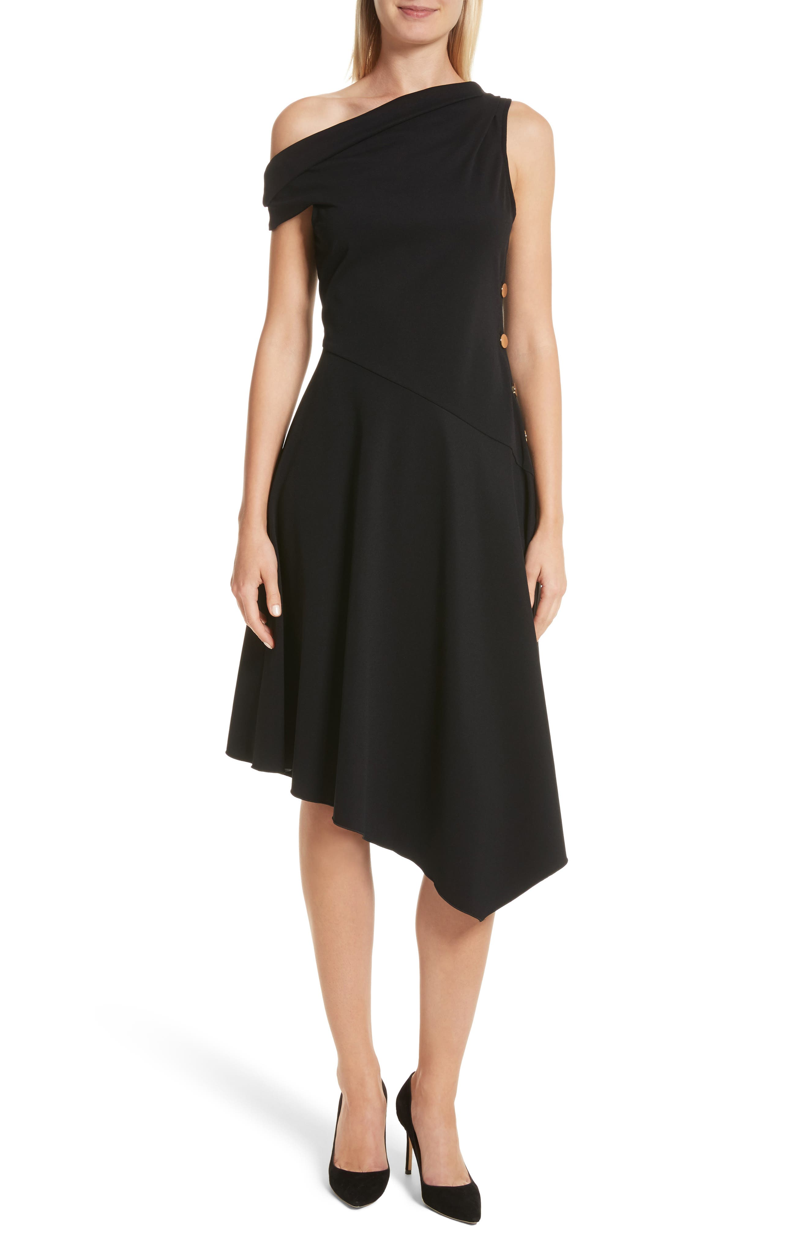 One-Shoulder Midi Dress,                         Main,                         color, Black
