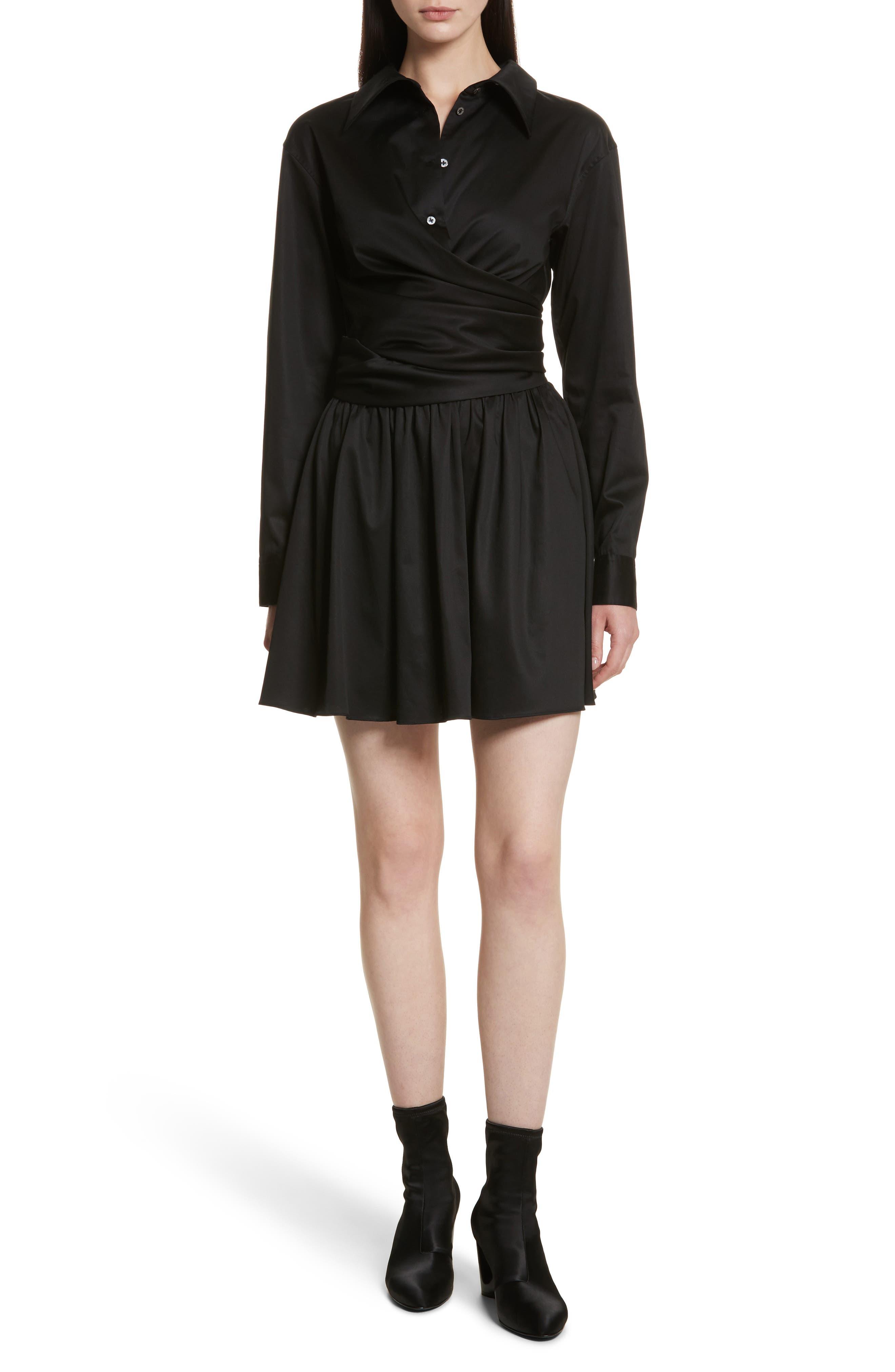 Wrap Front Sateen Dress,                             Main thumbnail 1, color,                             Black