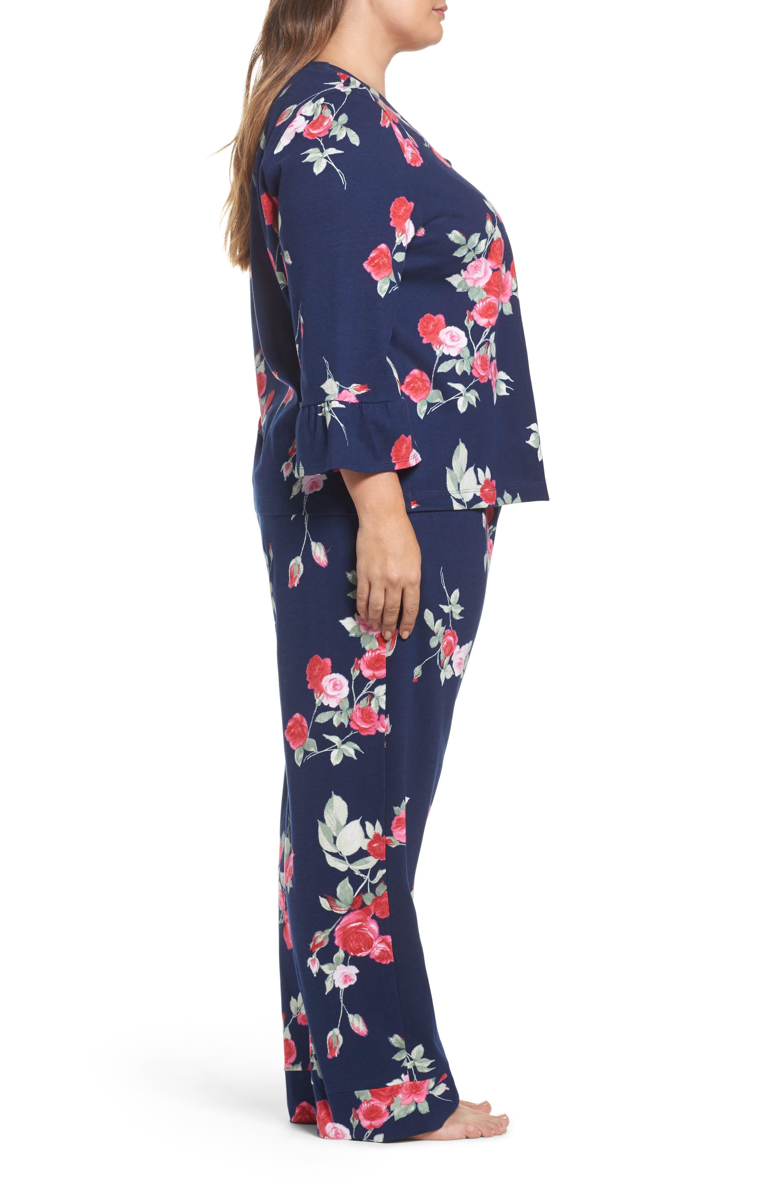 Floral Print Pajamas,                             Alternate thumbnail 3, color,                             Painted Rose