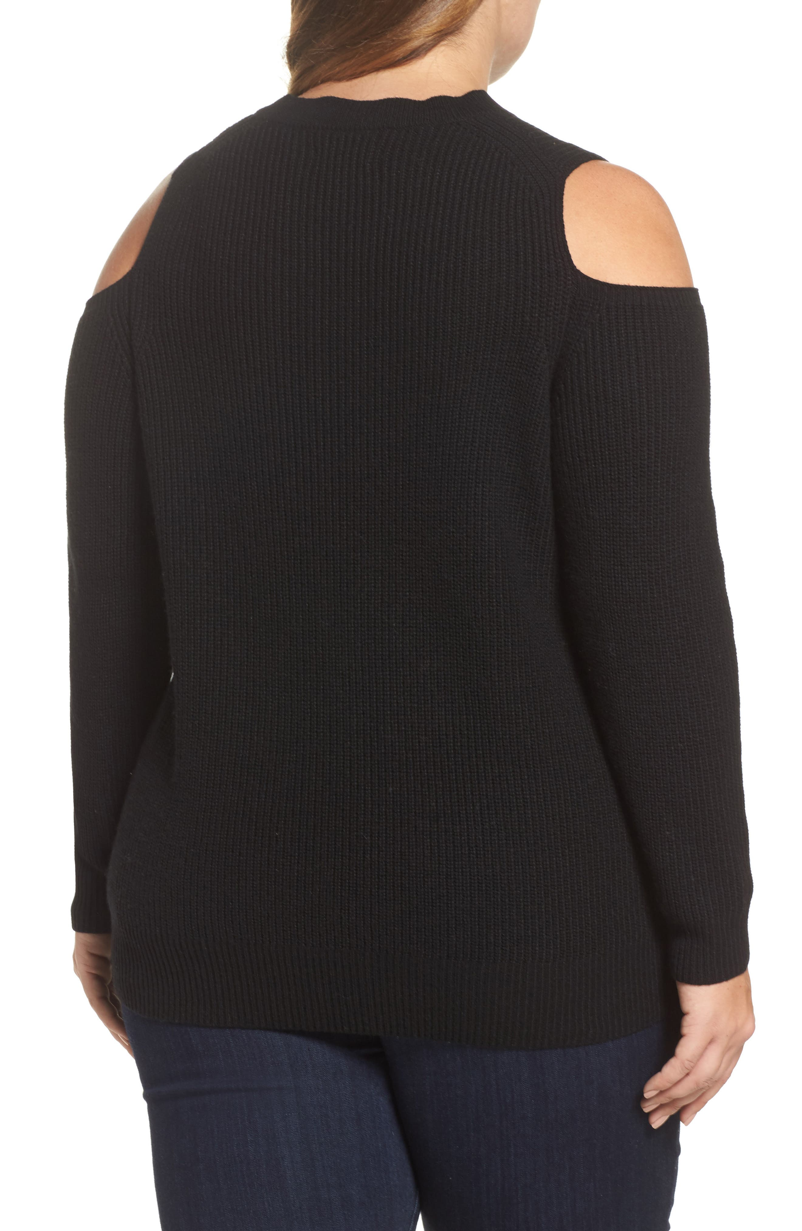 Cold Shoulder Sweater,                             Alternate thumbnail 2, color,                             Lucky Black