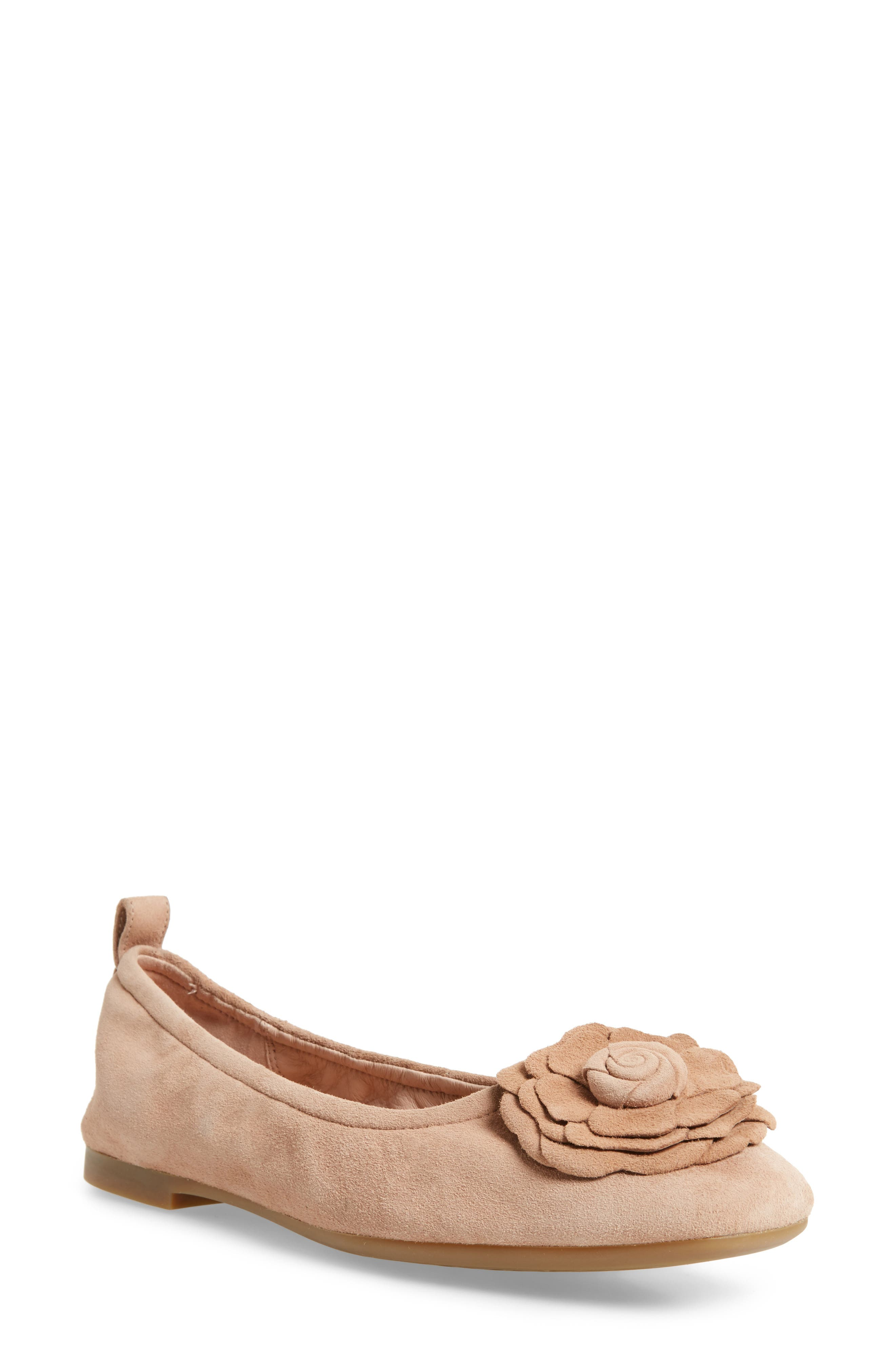 Rosalyn Ballet Flat,                         Main,                         color, Soft Beige Suede