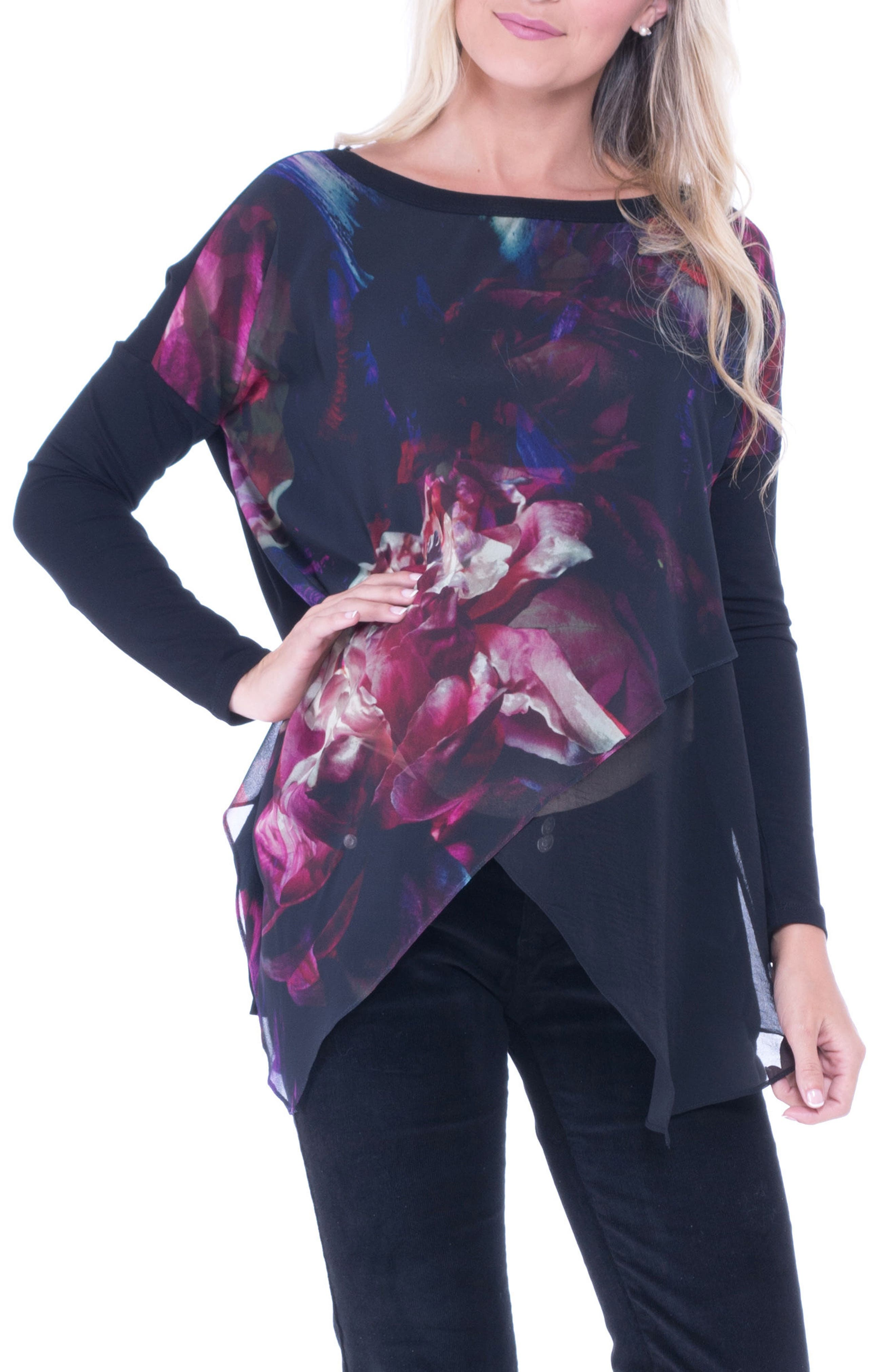 Alternate Image 1 Selected - Olian Bernadette Print Chiffon Layered Maternity Top