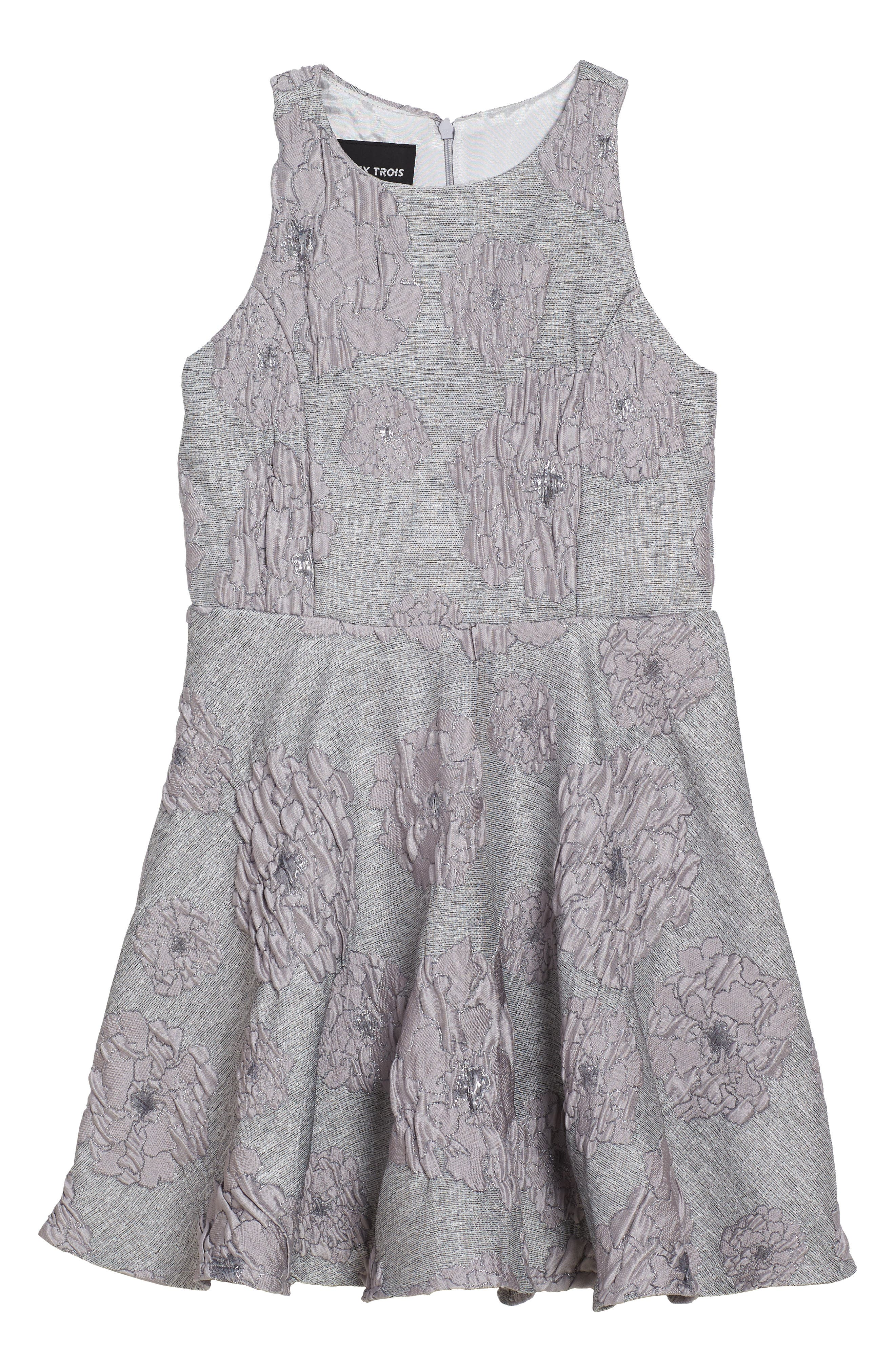 Main Image - Un Deux Trois Flocked Jacquard Skater Dress (Big Girls)