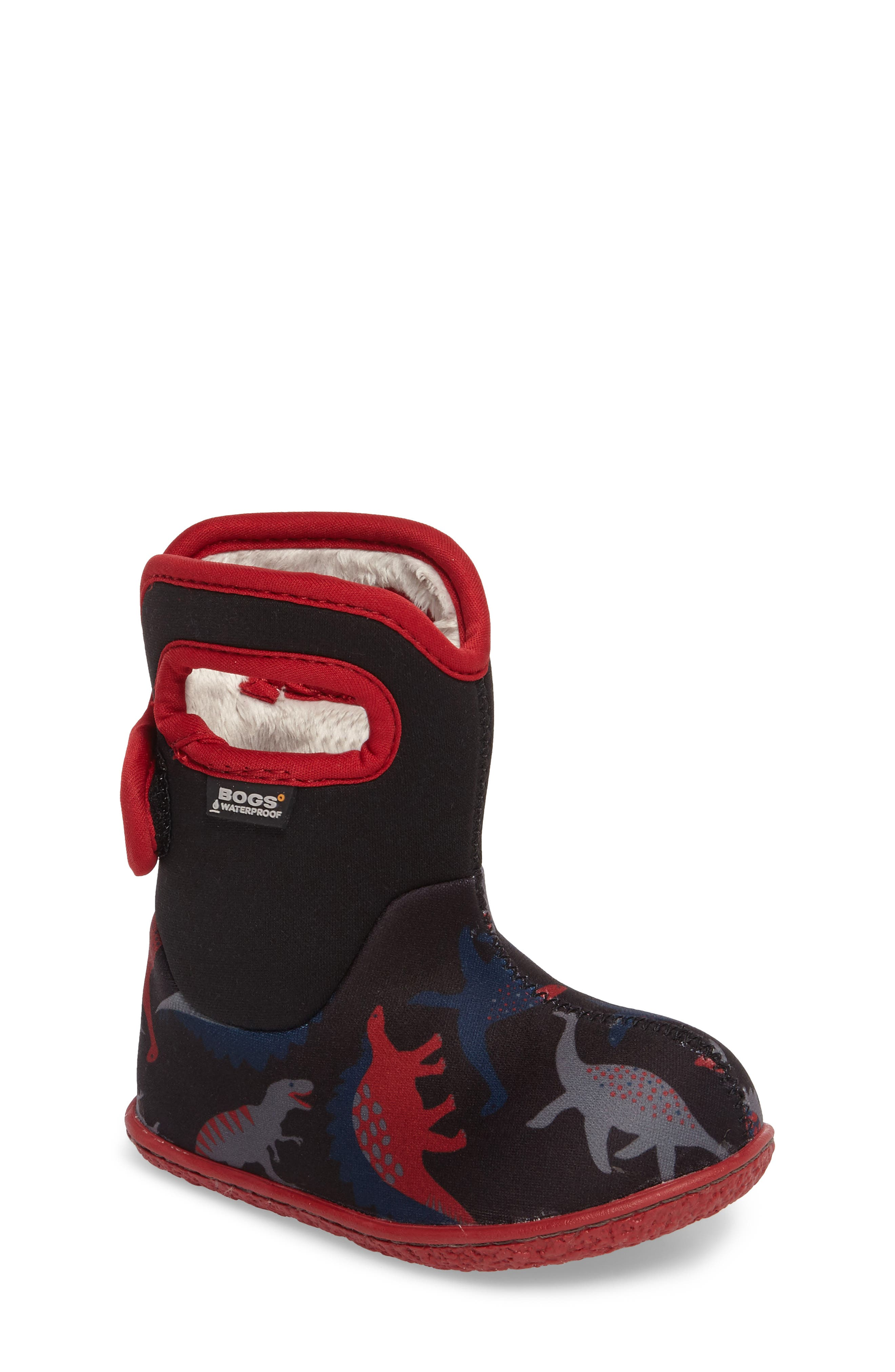 Baby Bog Classic Dino Insulated Waterproof Boot,                             Main thumbnail 1, color,                             Black/ Red Multi