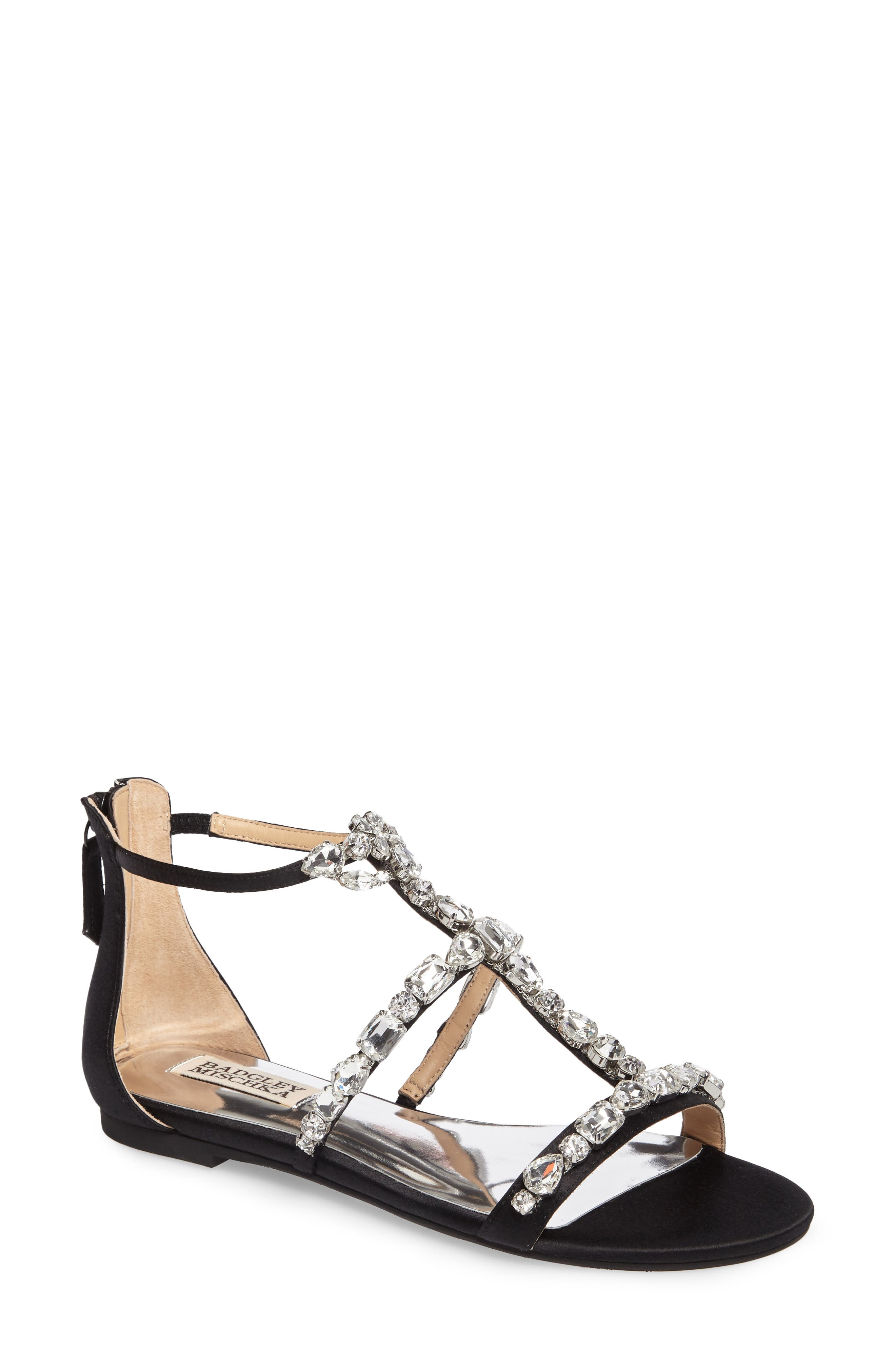 Badgley Mischka Warren Crystal Embellished Sandal (Women)