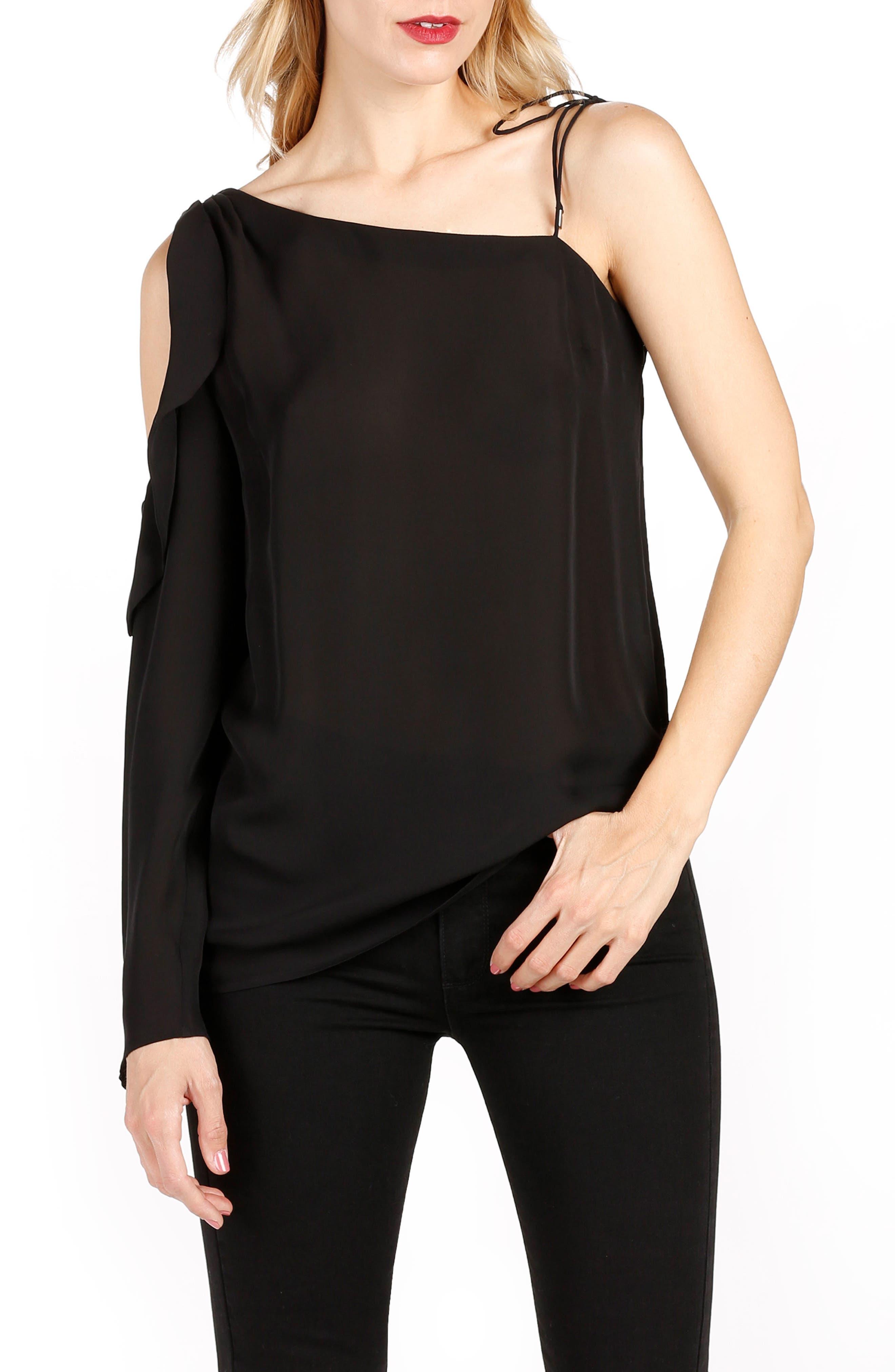 Florentina One-Shoulder Silk Top,                         Main,                         color, Black