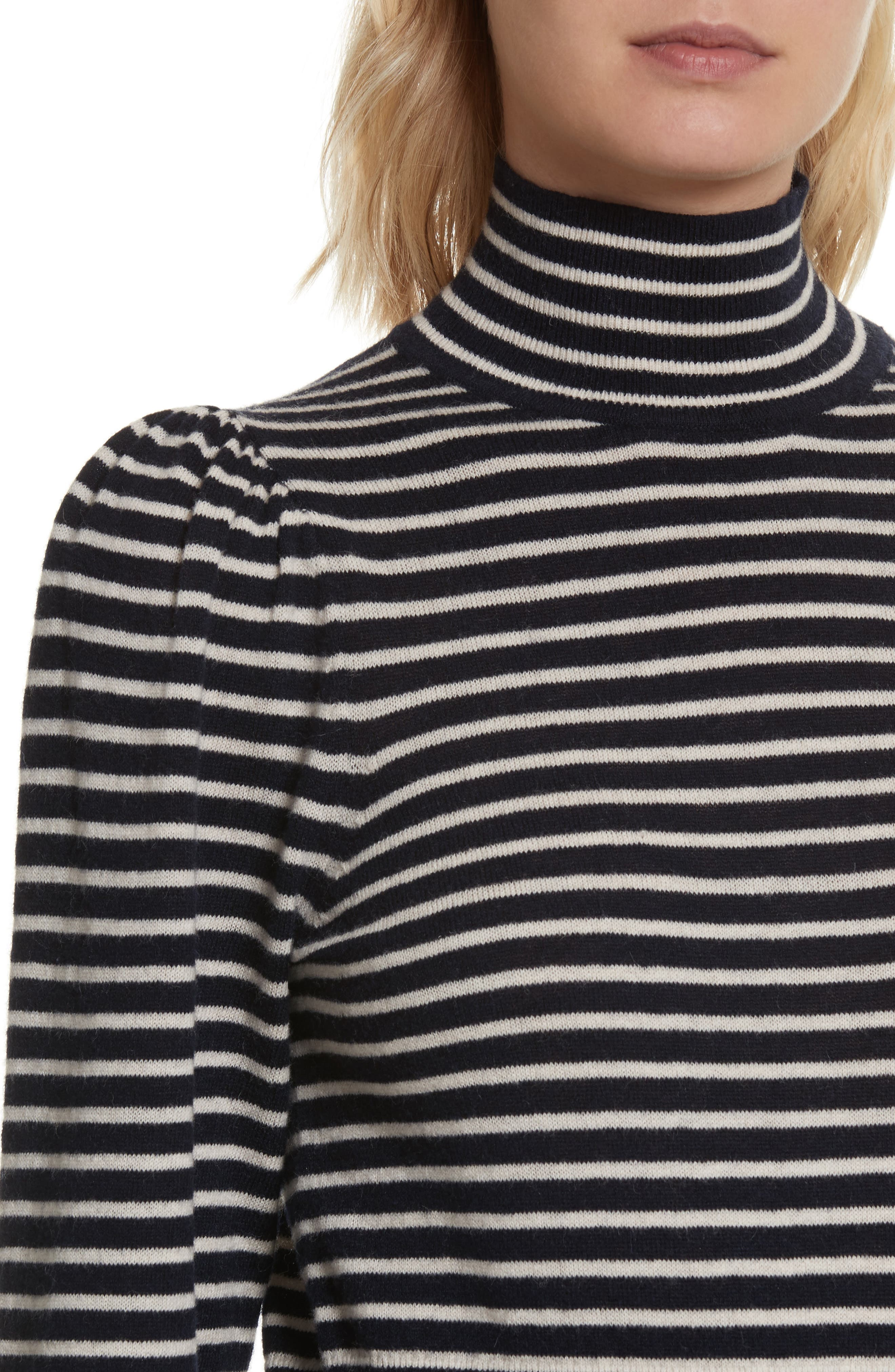 Stripe Stretch Wool Turtleneck,                             Alternate thumbnail 4, color,                             Navy/ Sand