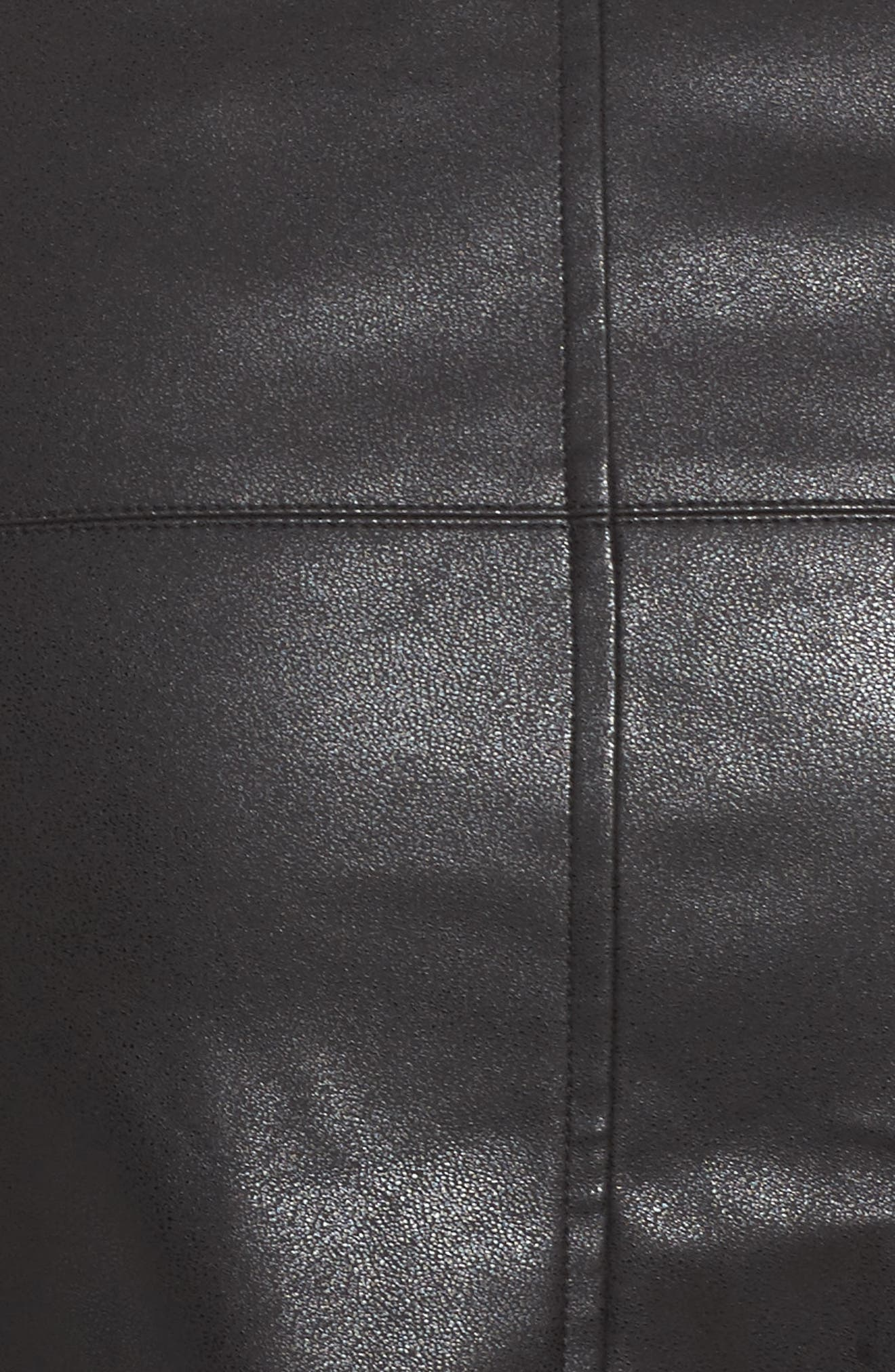 Button Front Faux Leather Skirt,                             Alternate thumbnail 5, color,                             Black