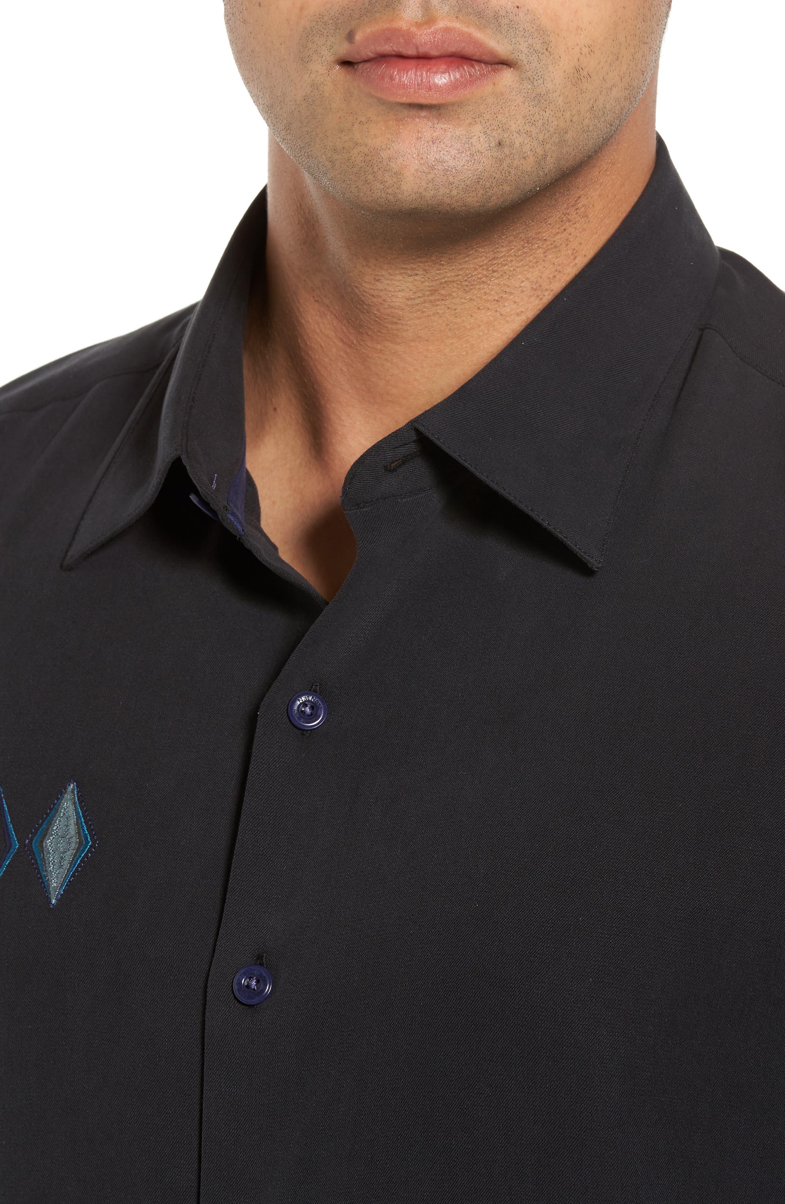 Black Diamond Regular Fit Embroidered Silk Blend Sport Shirt,                             Alternate thumbnail 4, color,                             Black