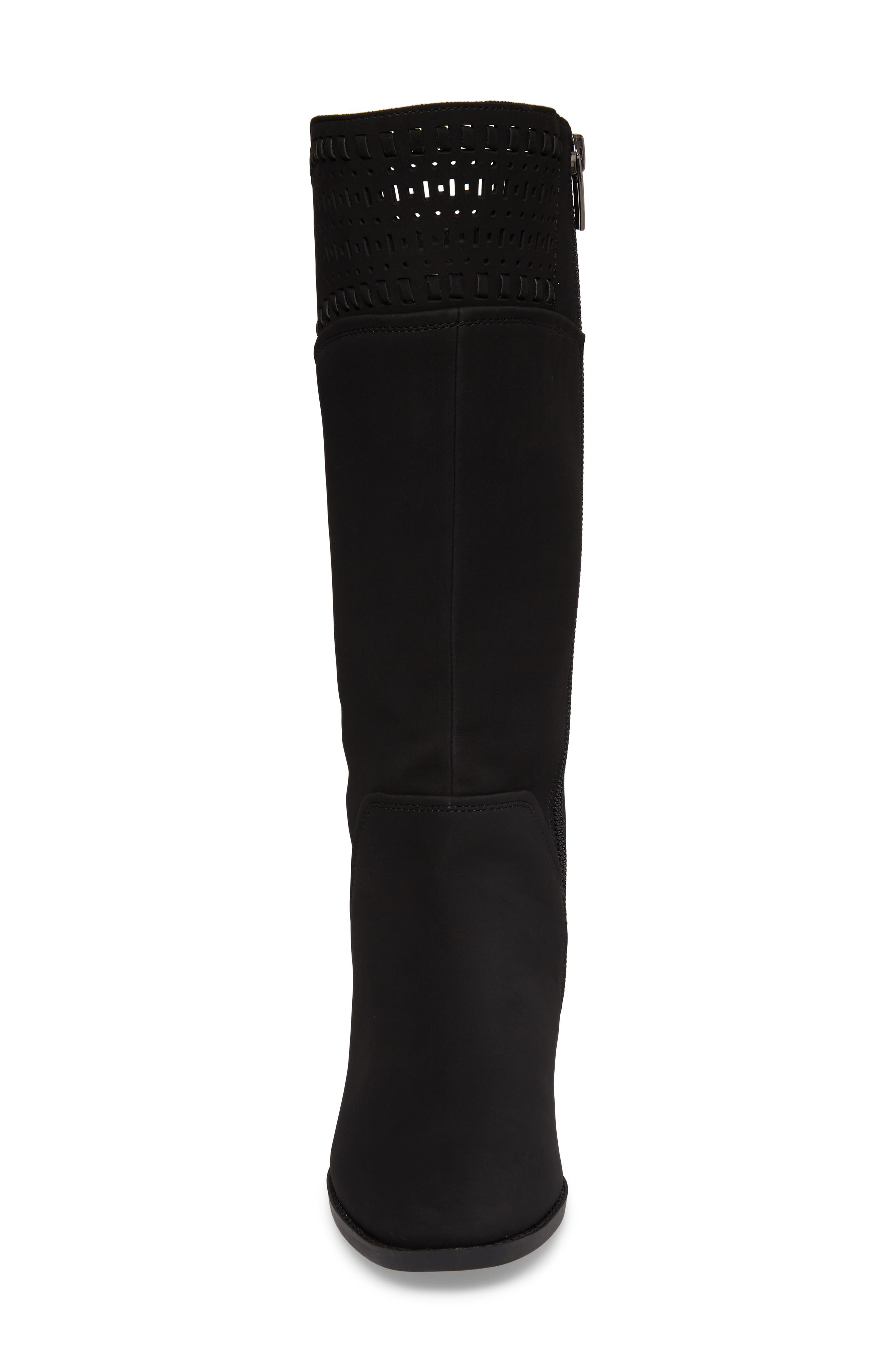 Blysse Woven Tall Boot,                             Alternate thumbnail 4, color,                             Black Suede