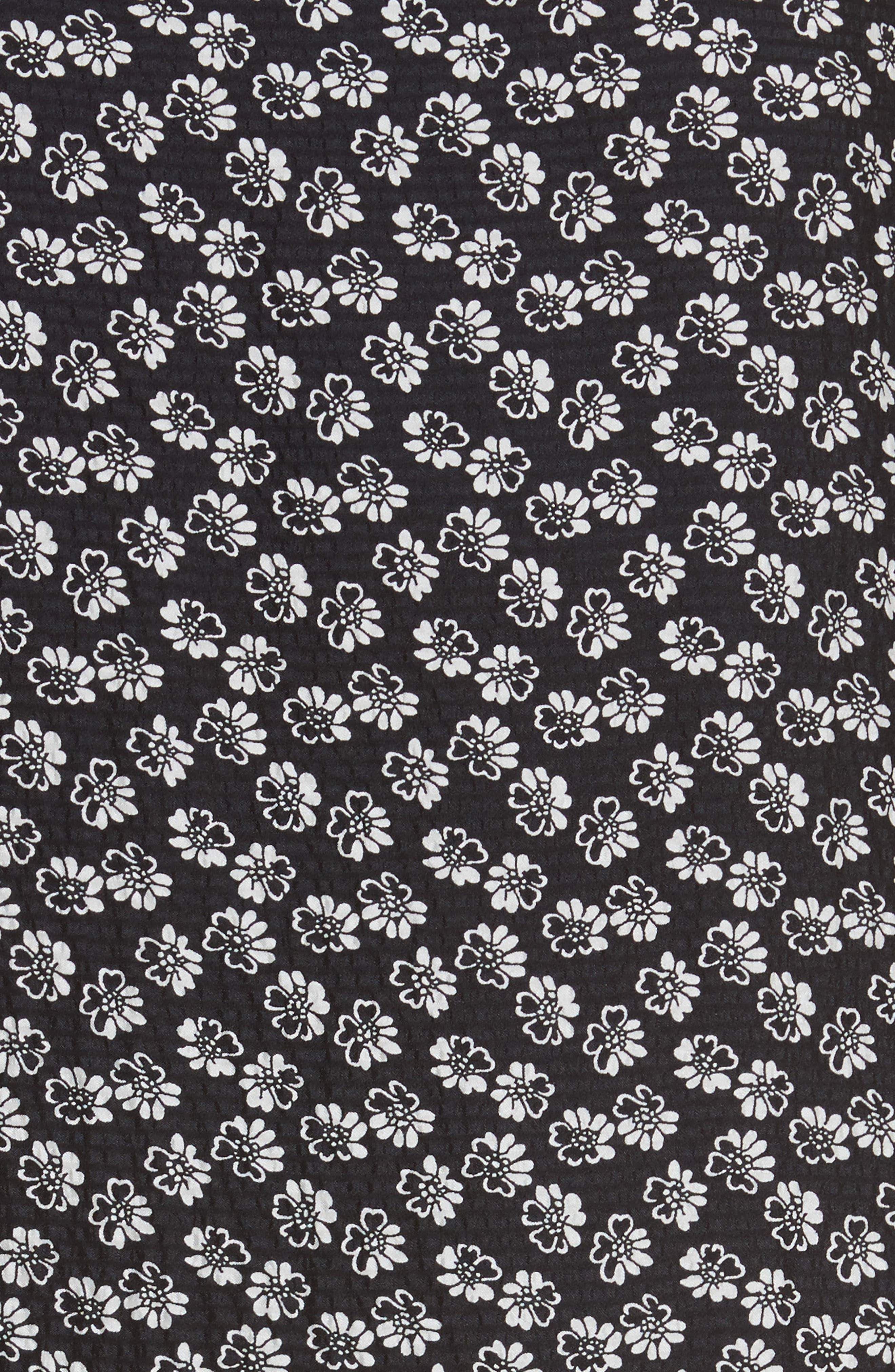 Rue Floral Silk Tie Neck Dress,                             Alternate thumbnail 5, color,                             Black Combo