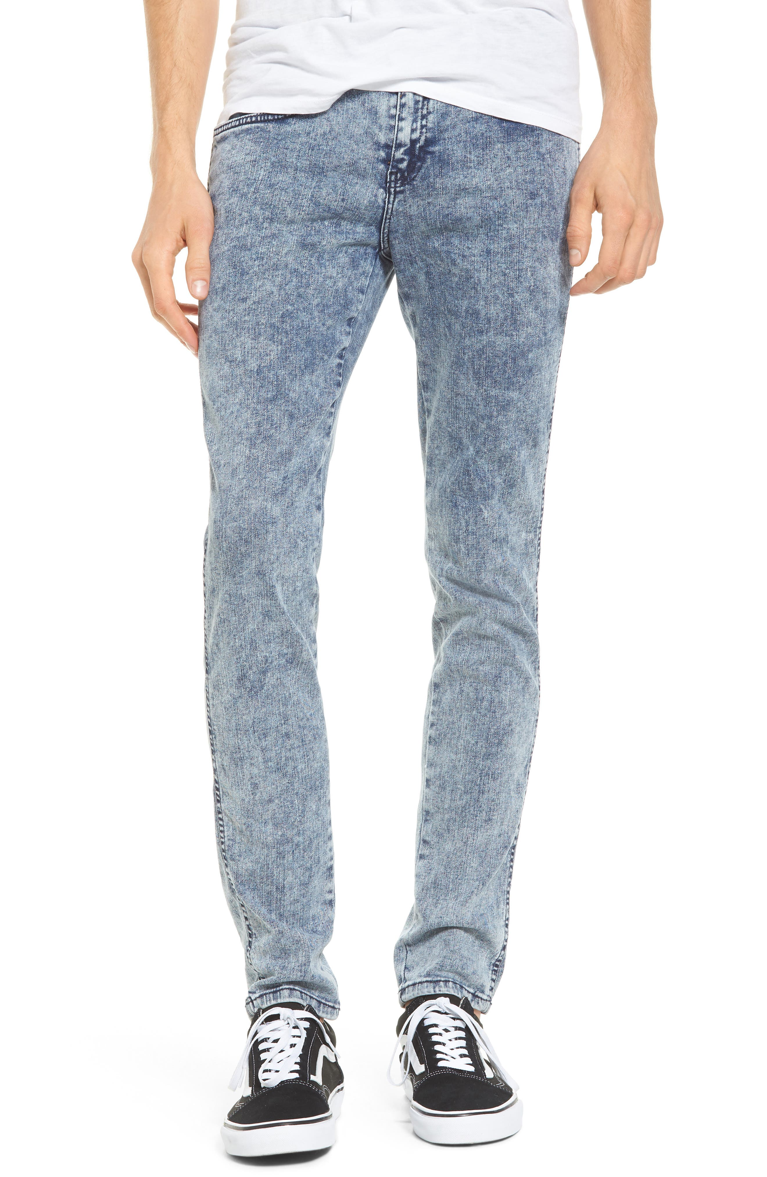 Snap Skinny Fit Jeans,                         Main,                         color, Acid Blue