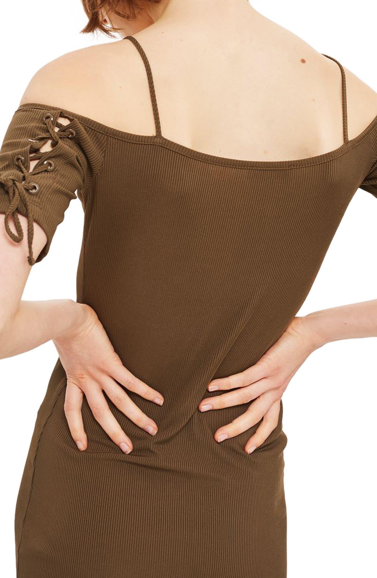 Lace-Up Sleeve Off the Shoulder Dress,                             Alternate thumbnail 2, color,                             Olive