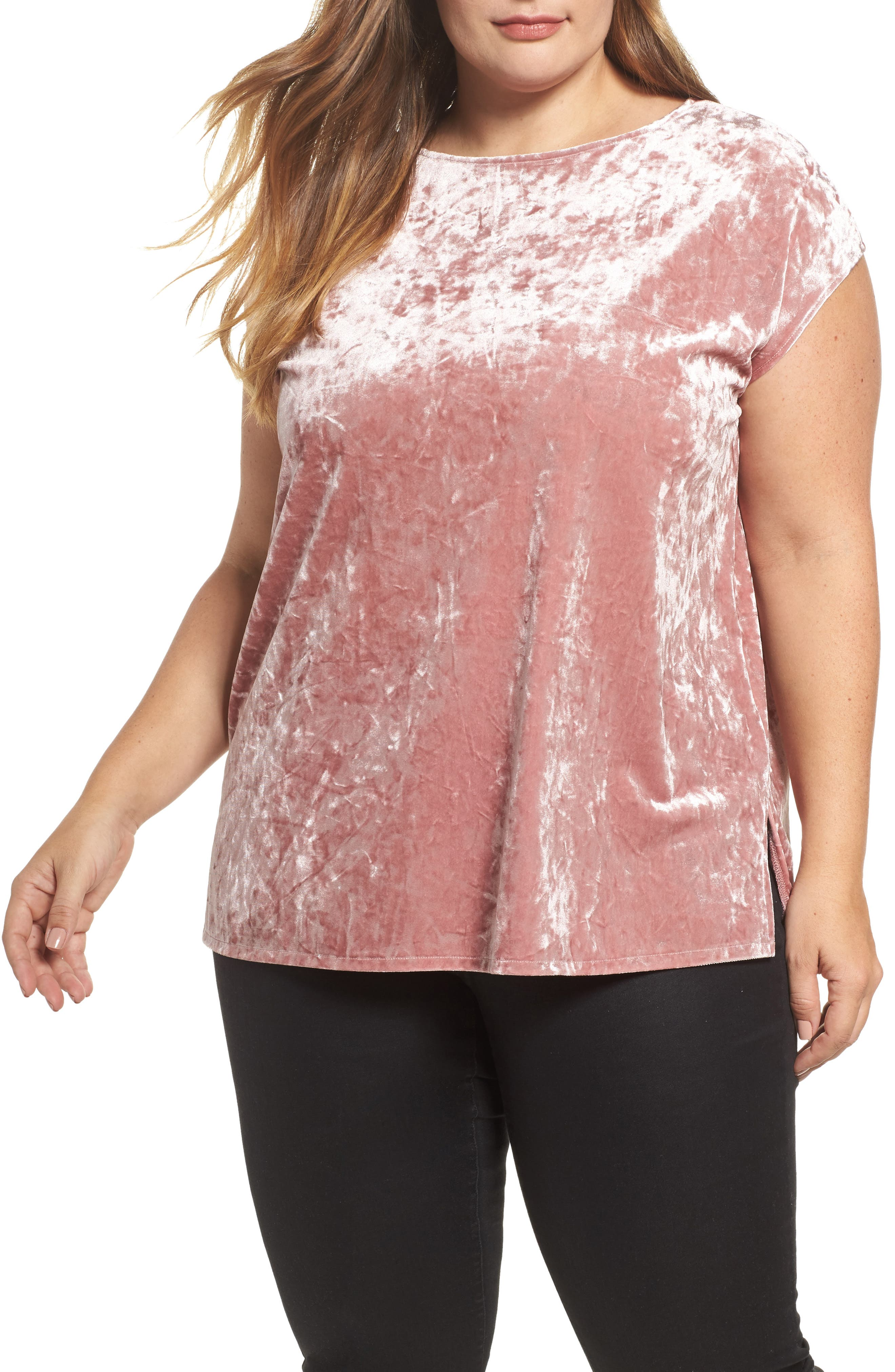 Alternate Image 1 Selected - Vince Camuto Crushed Velvet Knit Tee (Plus Size)