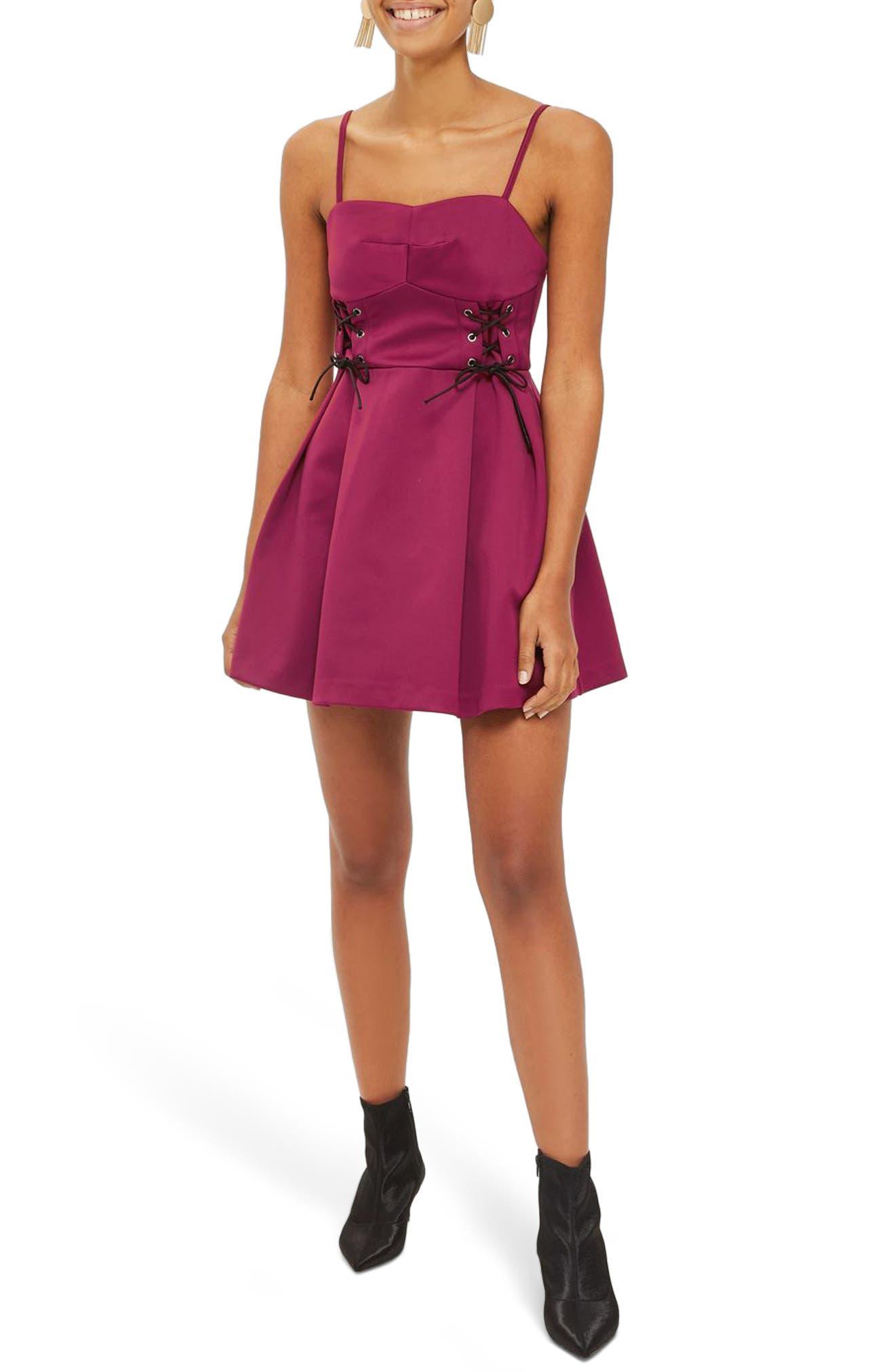 Corset Waist Bustier Minidress,                             Main thumbnail 1, color,                             Burgundy