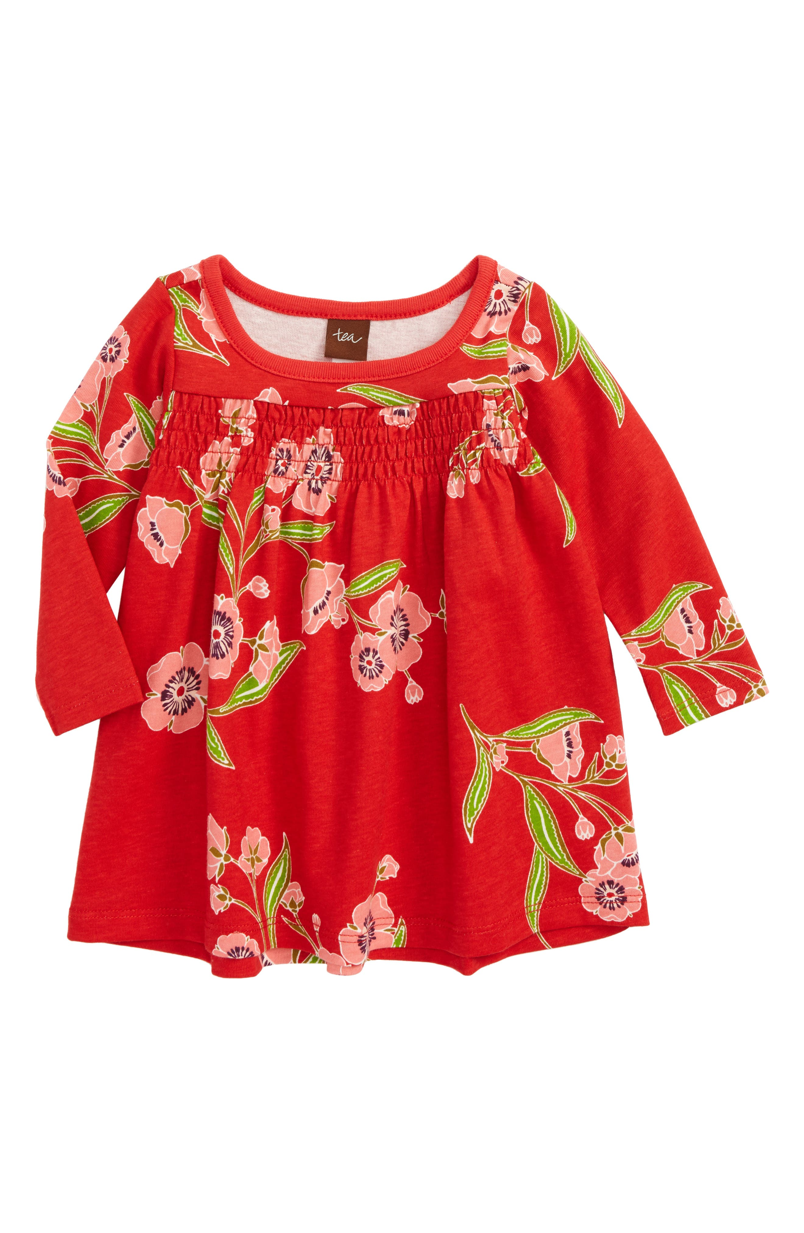 Rowan Smocked Dress,                         Main,                         color, Red Lantern