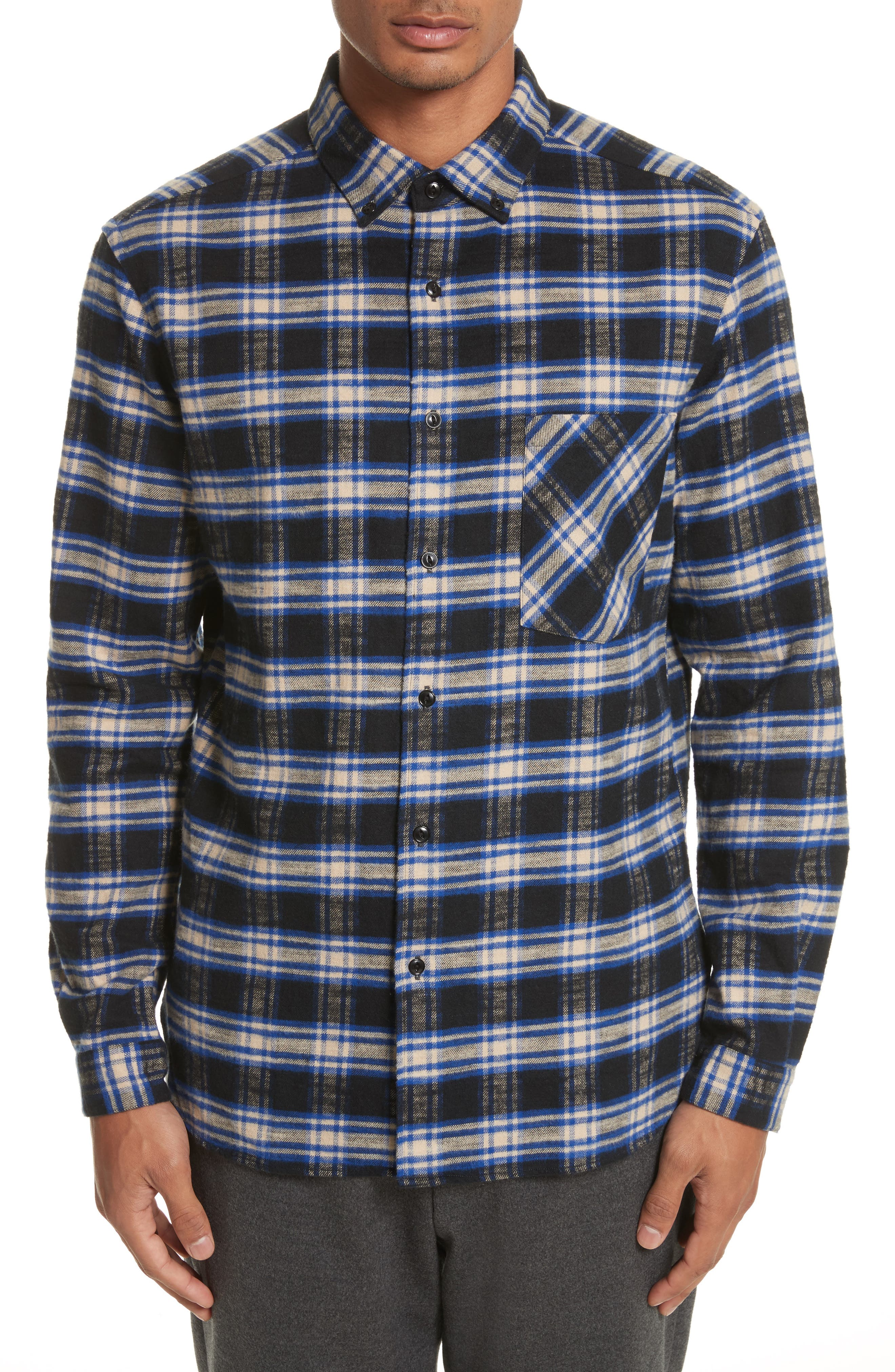 Bradford Plaid Flannel Sport Shirt,                         Main,                         color, Blue