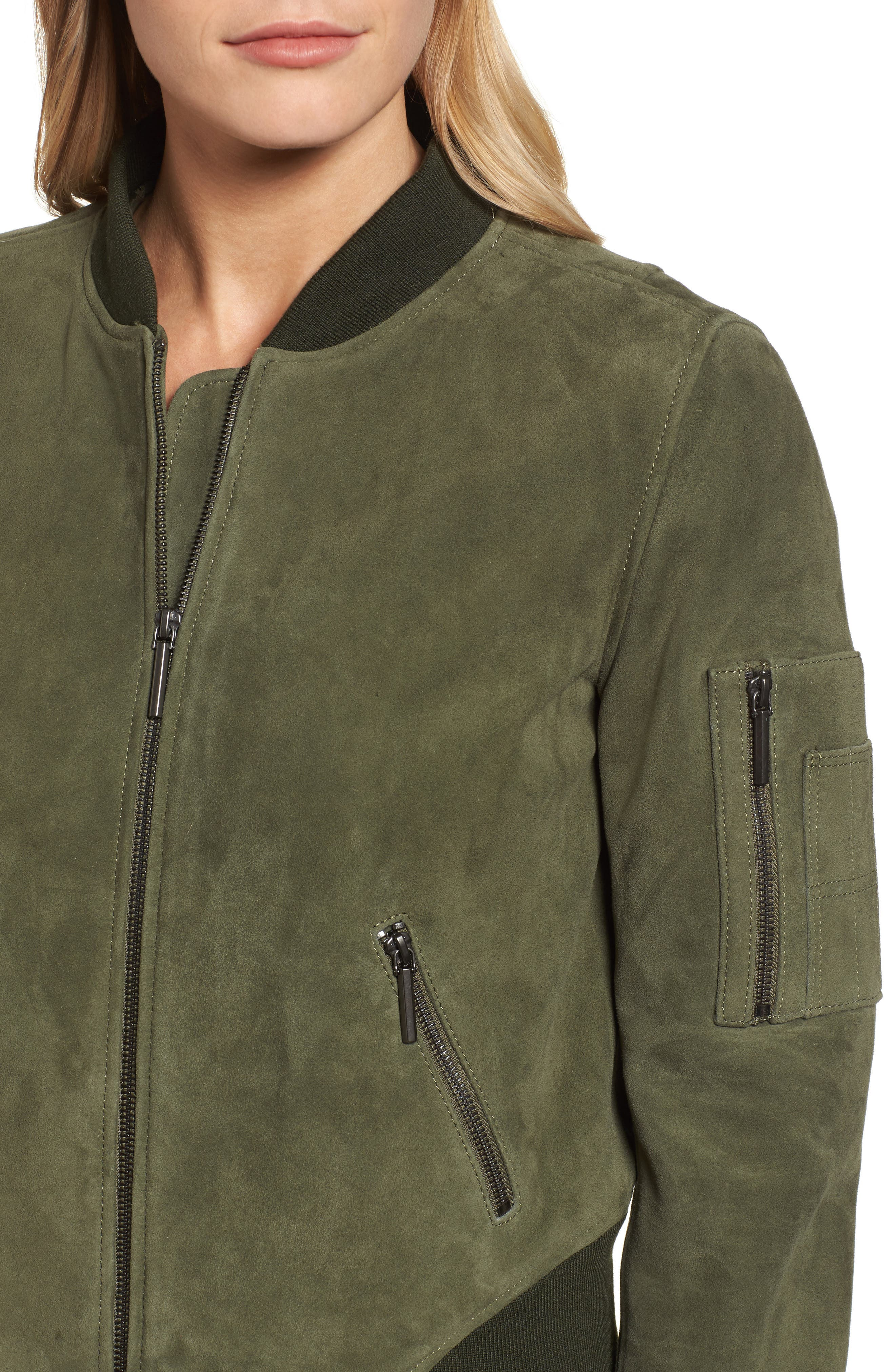 Crop Suede Bomber Jacket,                             Alternate thumbnail 4, color,                             Green Grove