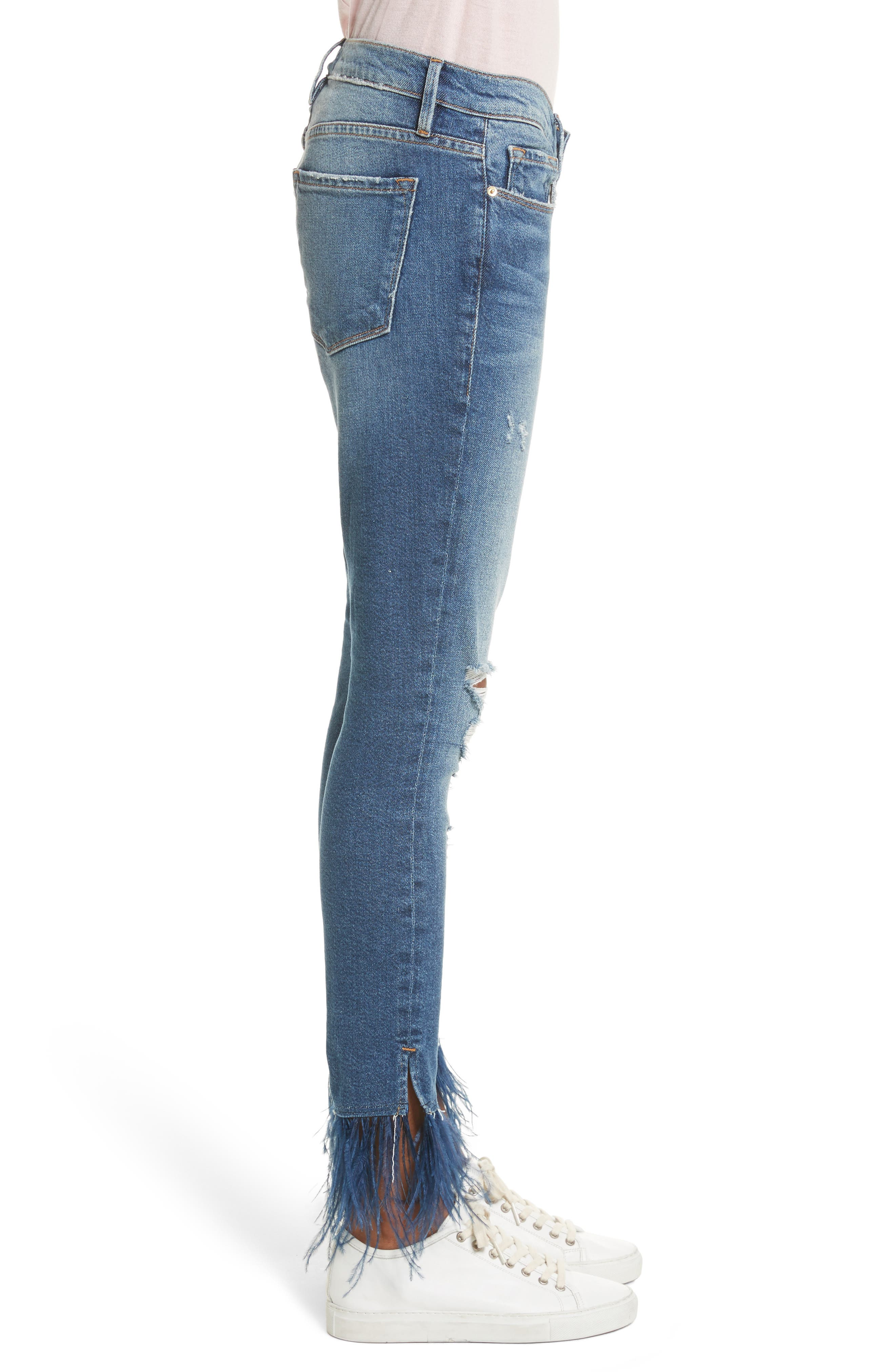 Mid Rise Skinny Feather Embellished Jeans,                             Alternate thumbnail 3, color,                             Chrystie