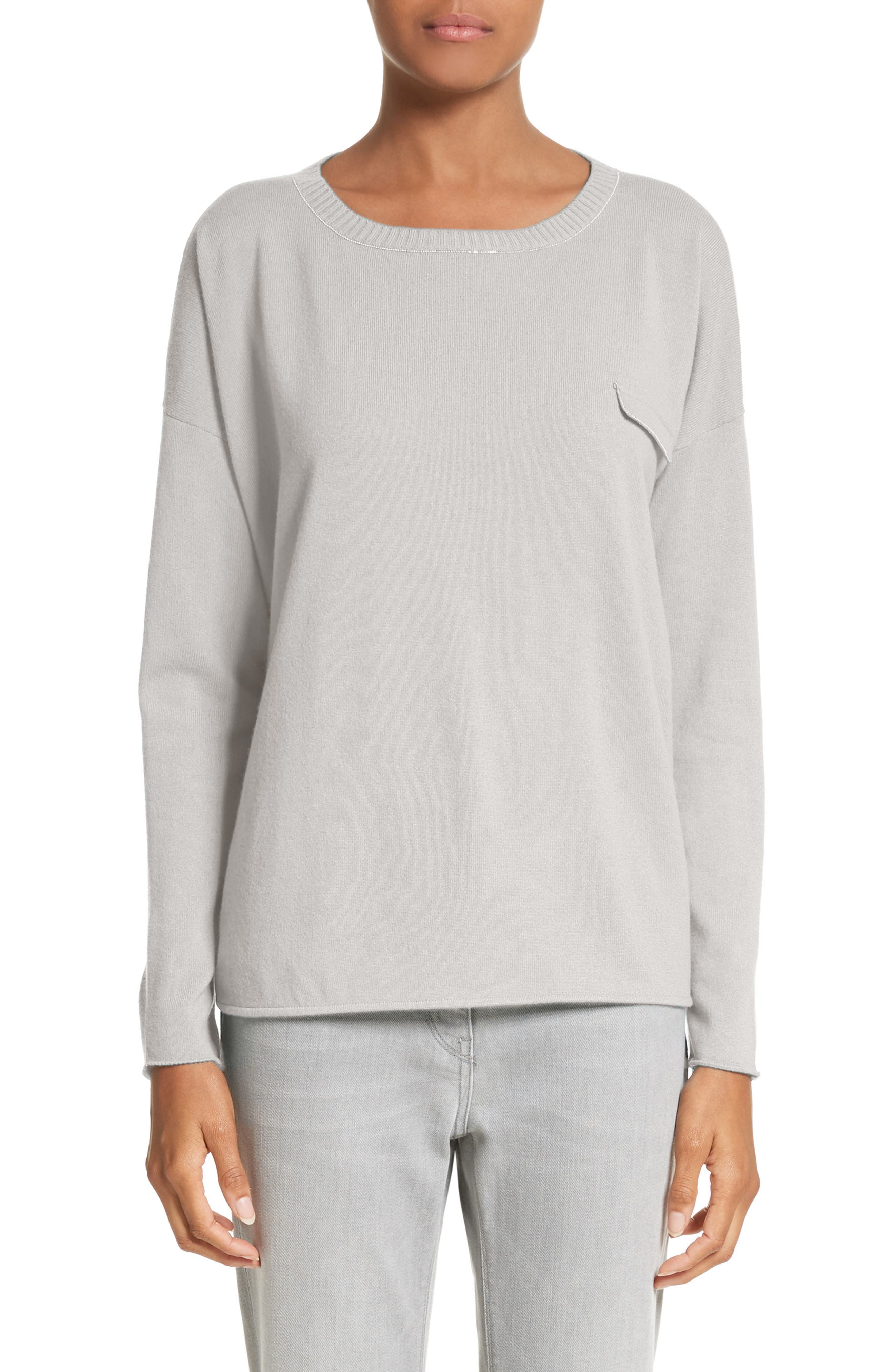 Beaded Cashmere Sweater,                         Main,                         color, Grey