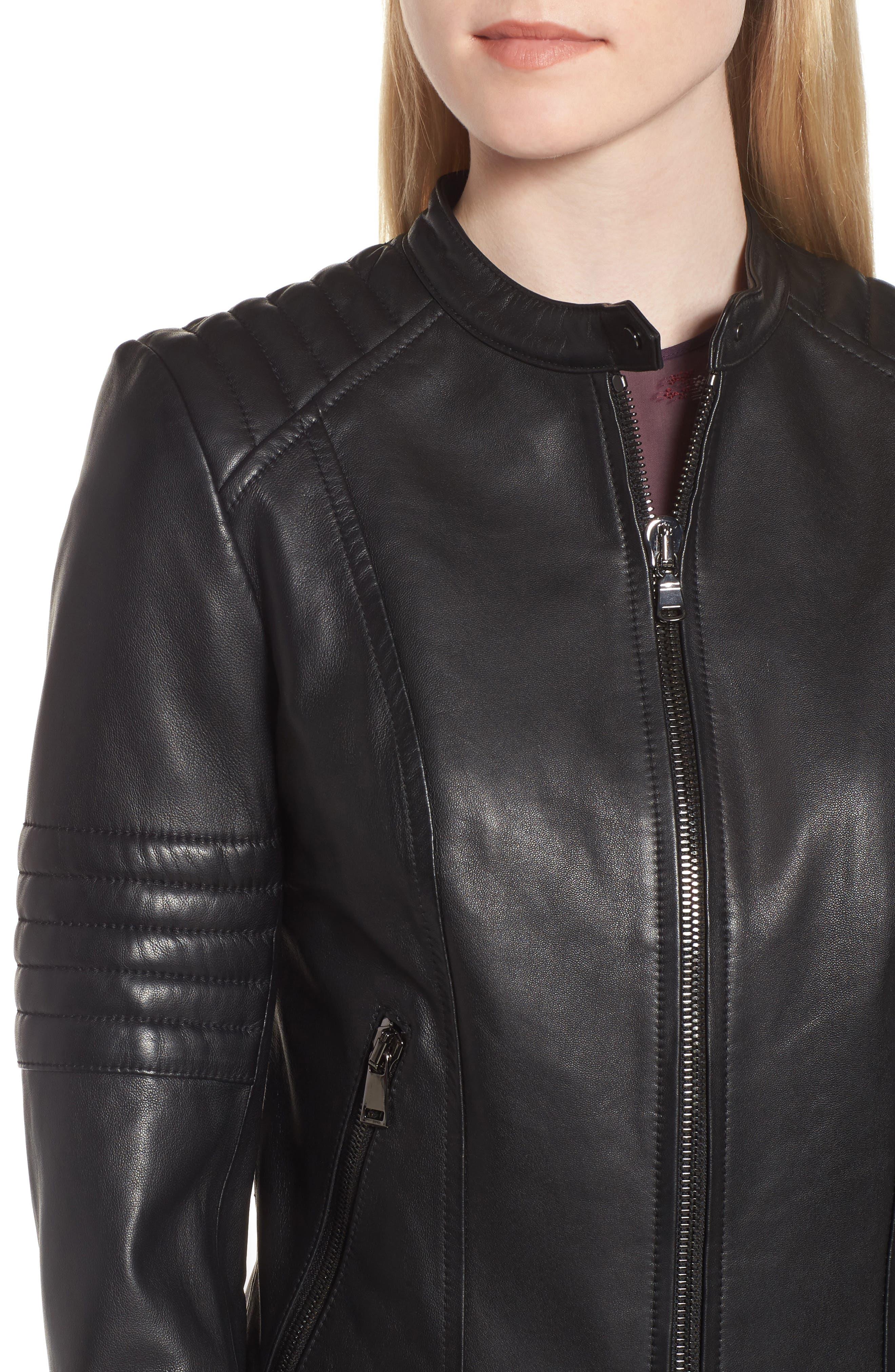 Quilted Sleeve Leather Biker Jacket,                             Alternate thumbnail 4, color,                             Black