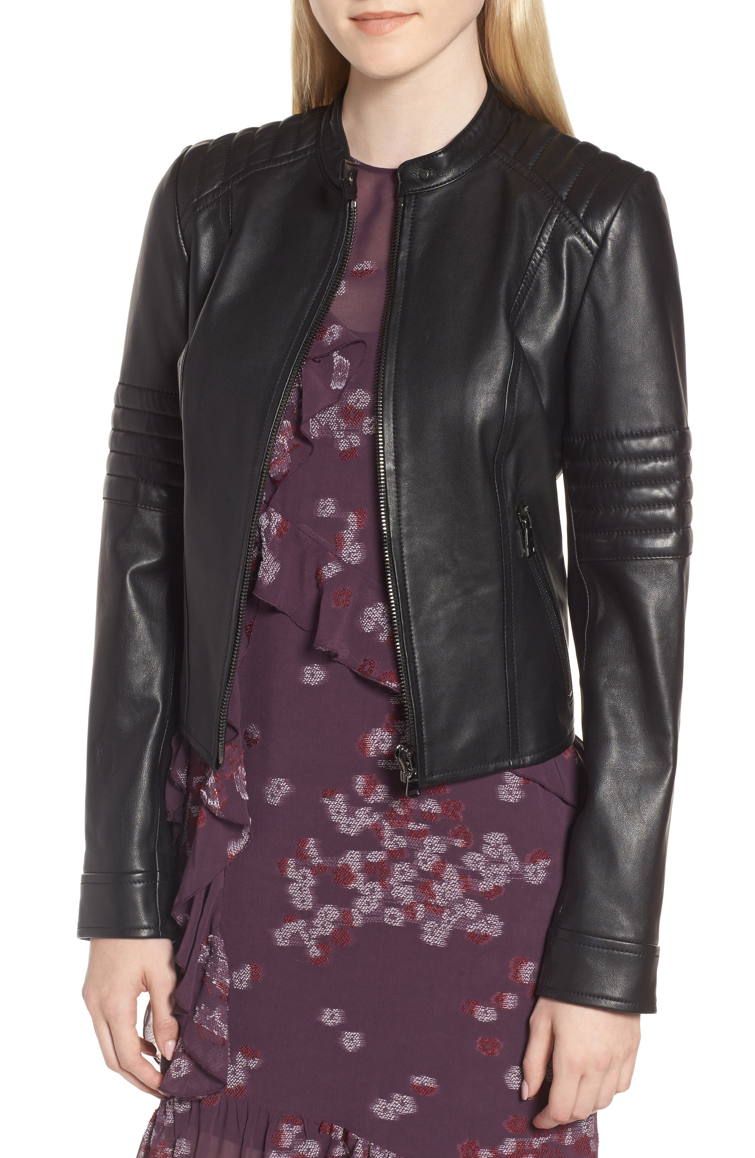 Quilted Sleeve Leather Biker Jacket,                         Main,                         color, Black
