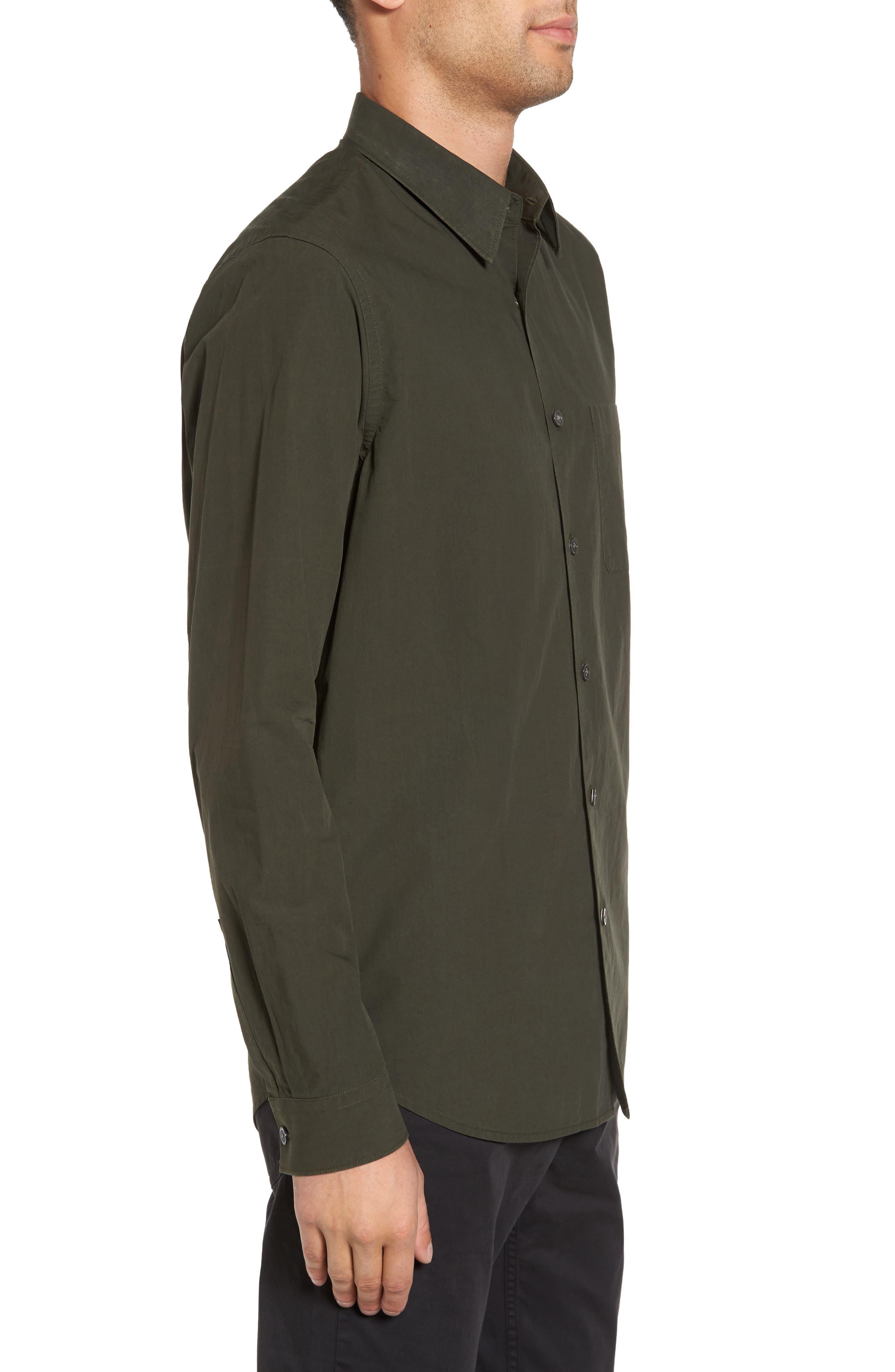 Rammy Trim Fit Solid Sport Shirt,                             Alternate thumbnail 3, color,                             Mantis