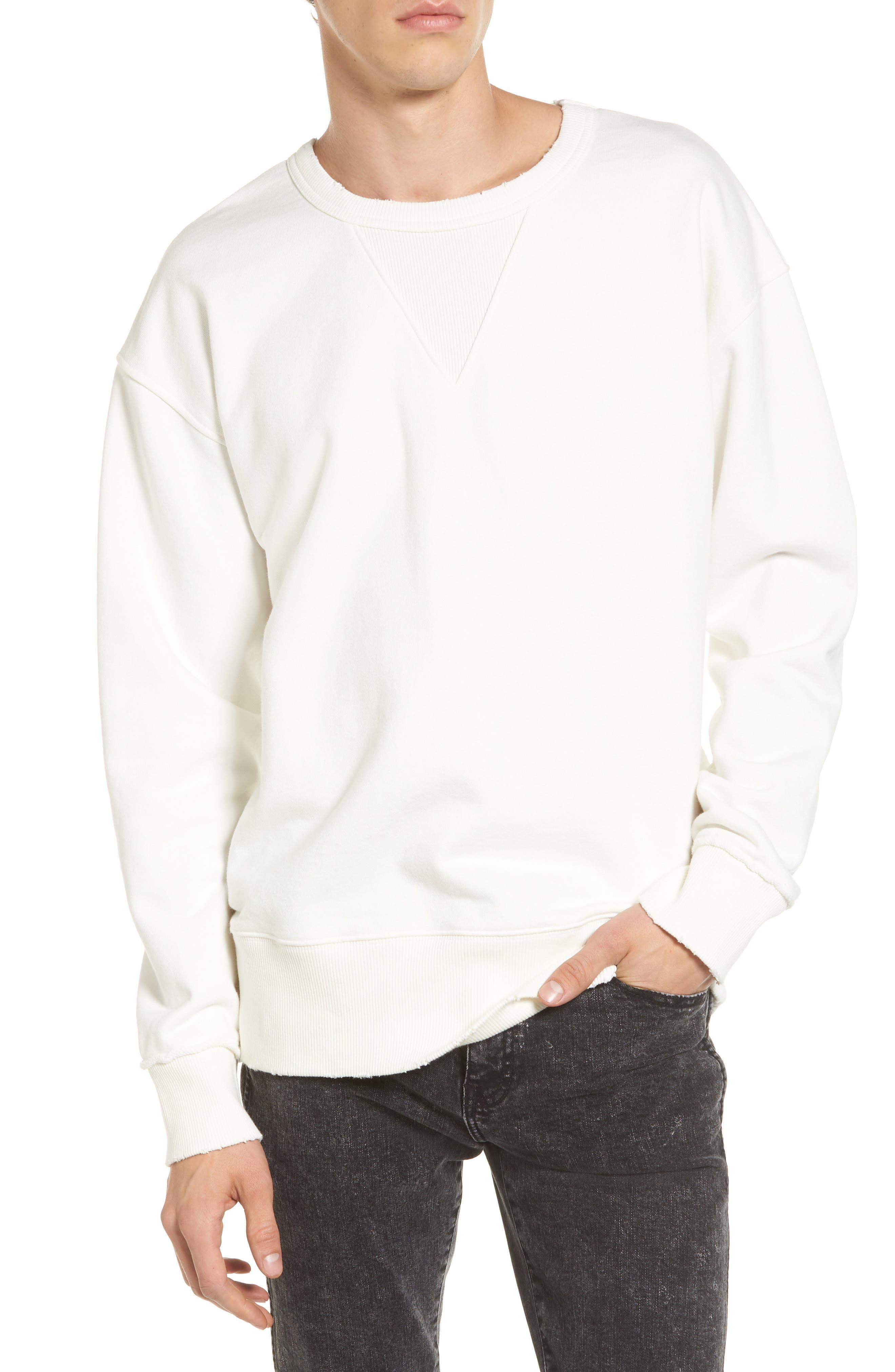 Distressed Sweatshirt,                         Main,                         color, Ivory Vanilla