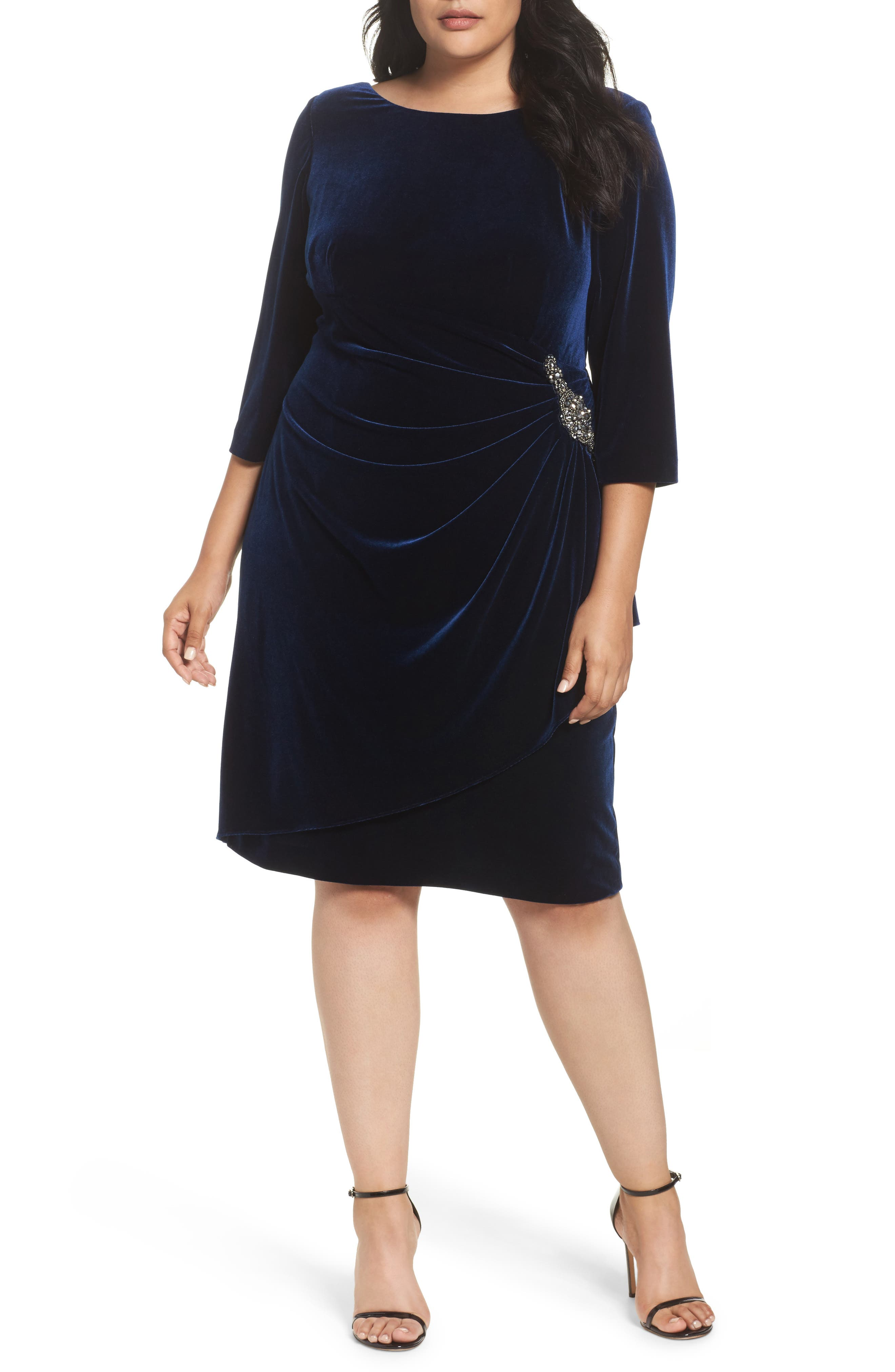 Main Image - Alex Evenings Embellished Faux Wrap Velvet Dress (Plus Size)